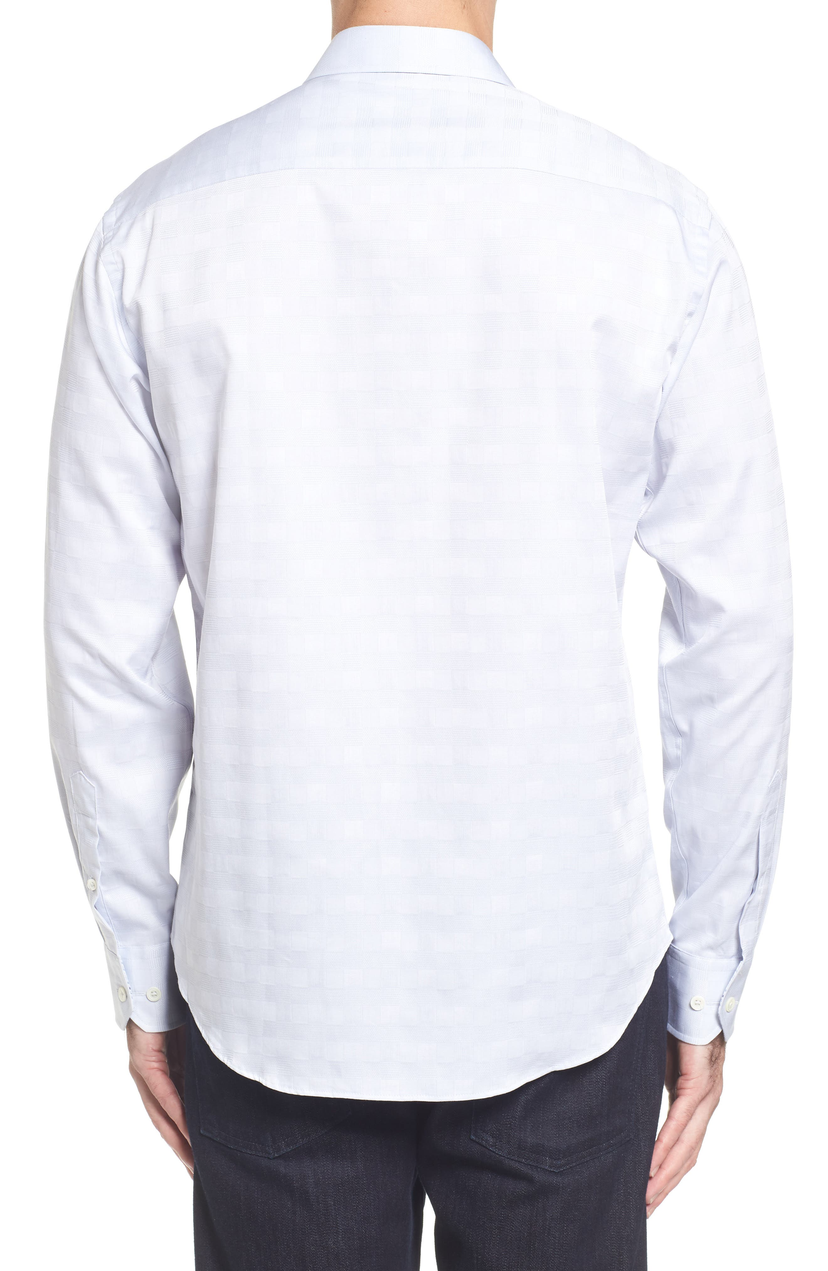 Classic Fit Check Jacquard Sport Shirt,                             Alternate thumbnail 2, color,                             Silver