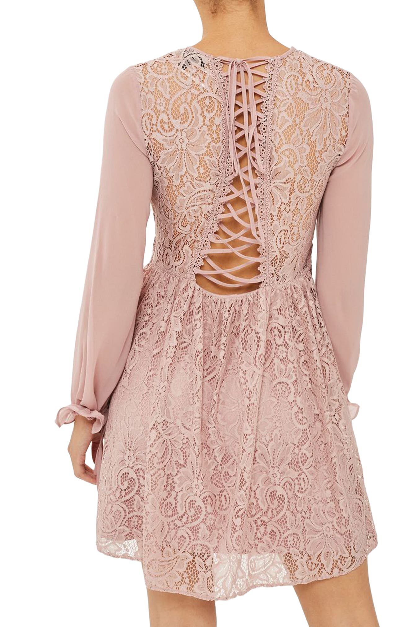 Laced Back Minidress,                             Alternate thumbnail 2, color,                             Dusty Pink