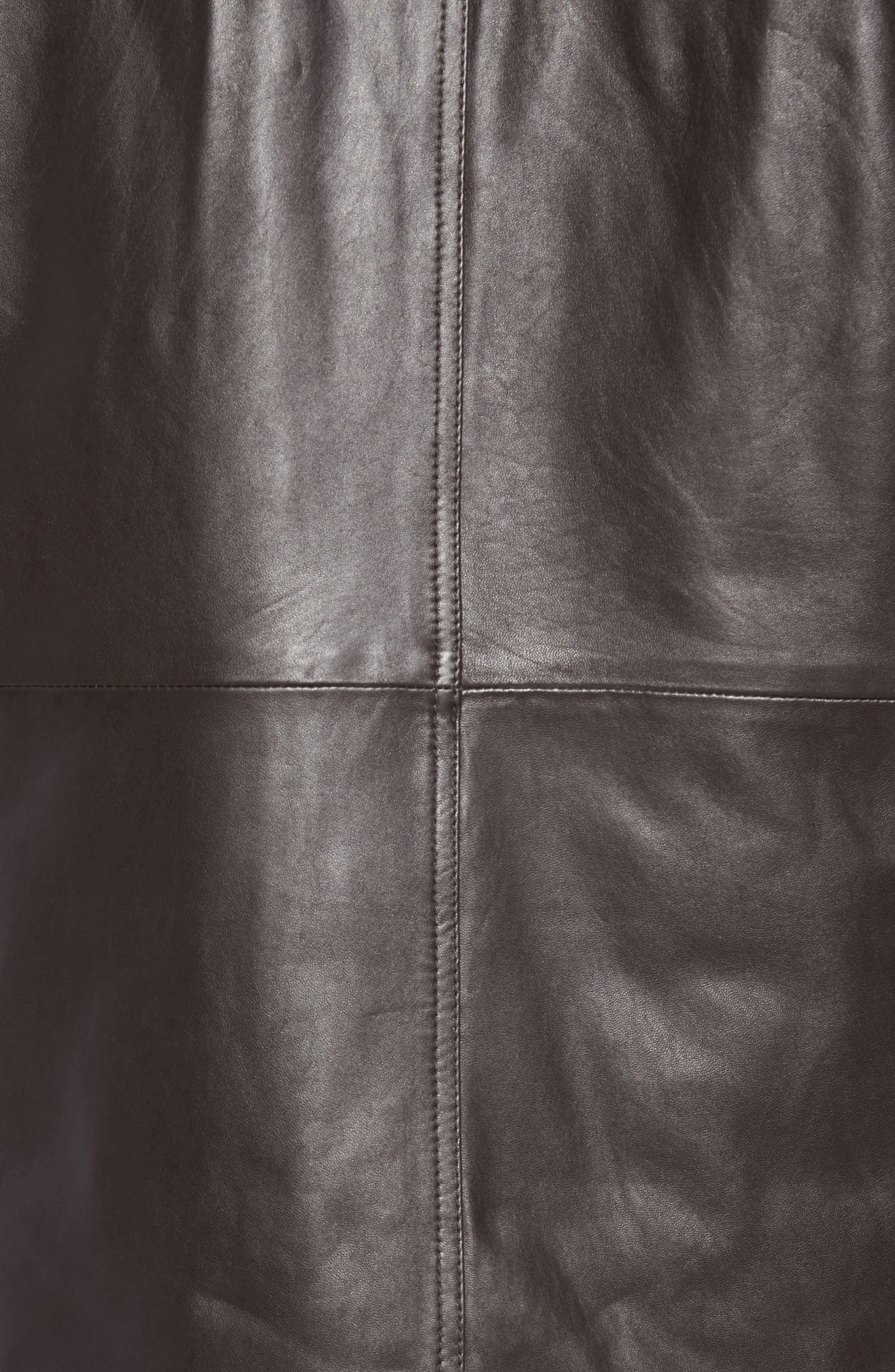 Middlebury Leather Car Coat with Genuine Rabbit Fur Trim,                             Alternate thumbnail 6, color,                             Espresso
