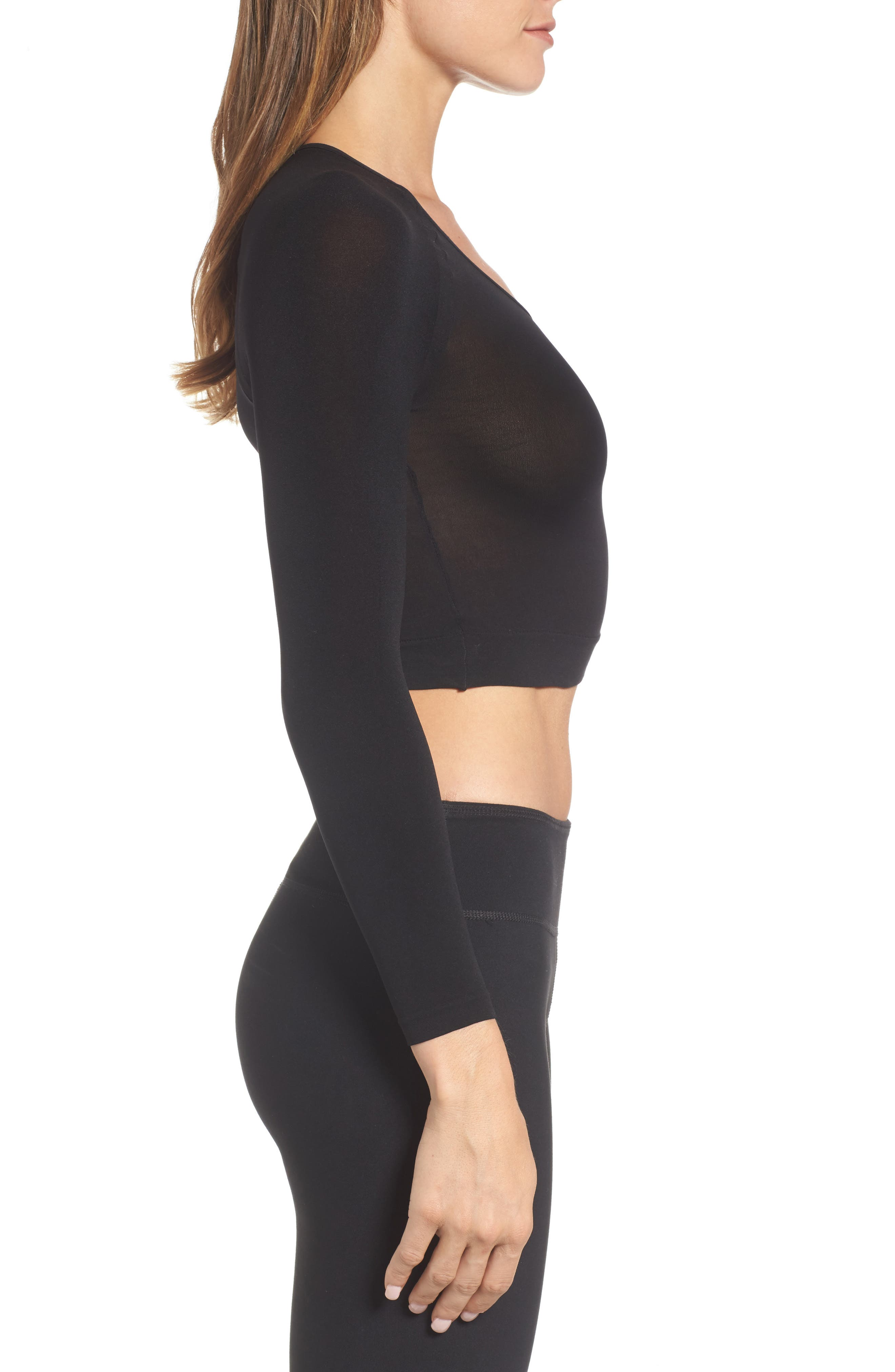 Arm Tights Crop Top,                             Alternate thumbnail 3, color,                             Very Black