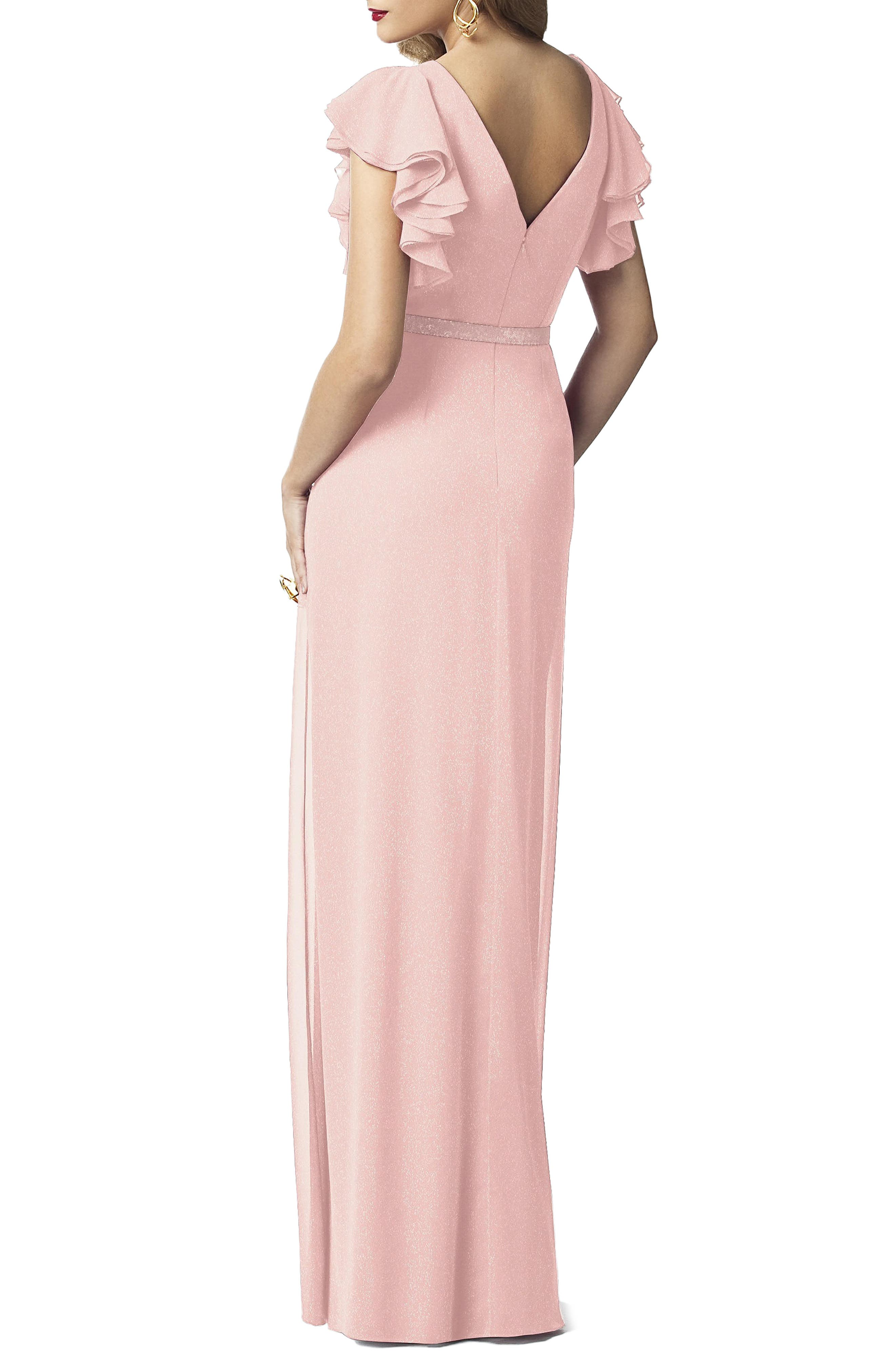 Alternate Image 2  - Dessy Collection Sequin Flutter Sleeve Gown