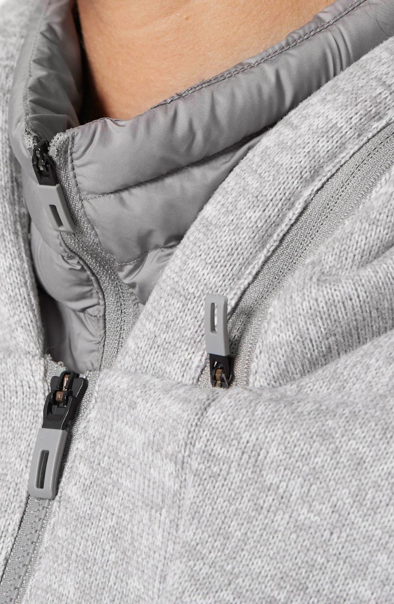Nuvic Hybrid 2 Fleece/Puffer Jacket,                             Alternate thumbnail 4, color,                             Medium Grey Heather/Solid Grey