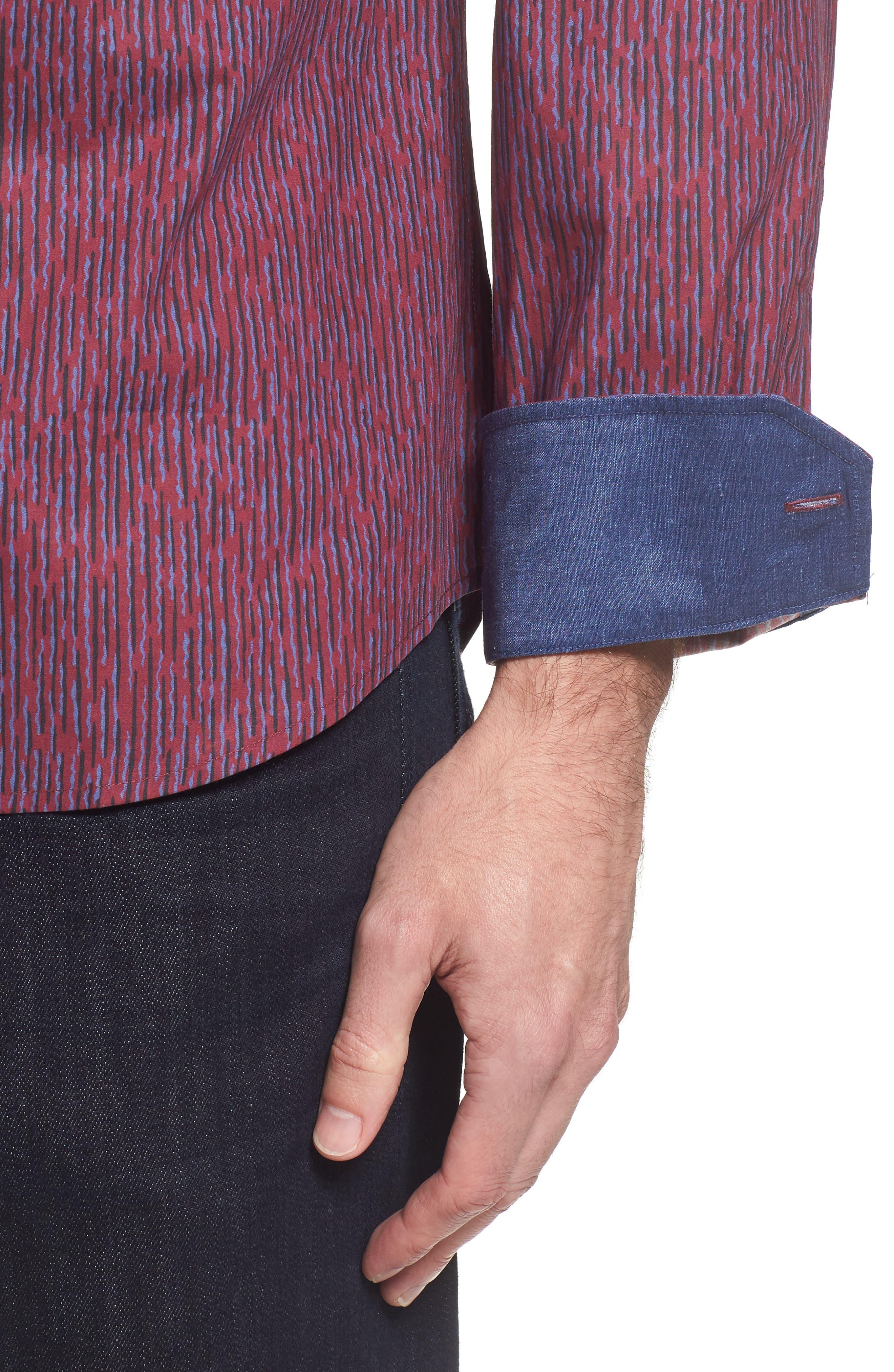 Alternate Image 4  - Bugatchi Classic Fit Print Sport Shirt