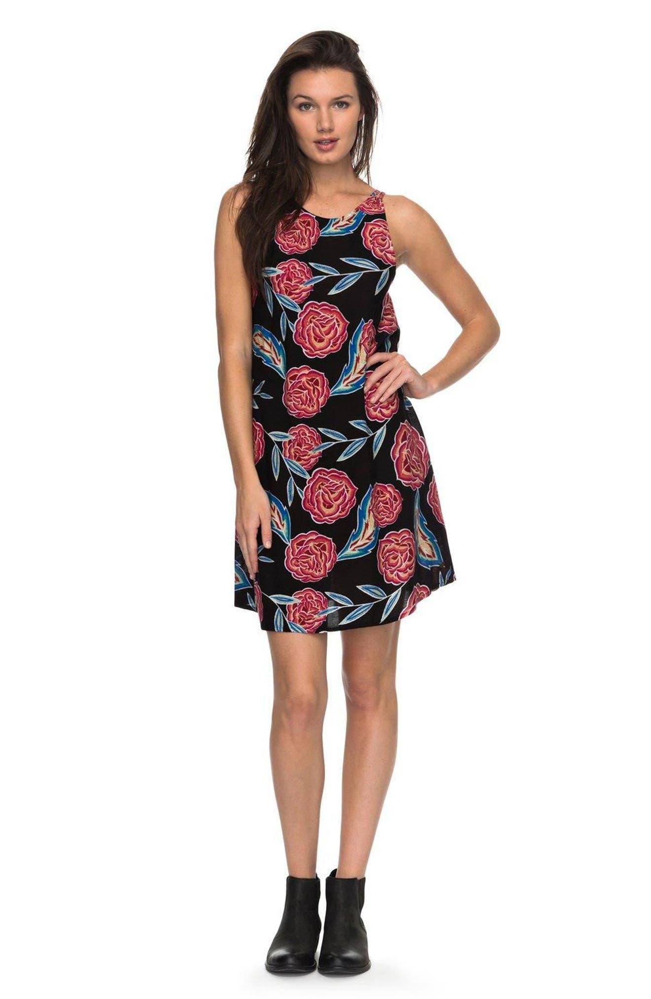 Sunburnt Land Shift Dress,                             Alternate thumbnail 2, color,                             Anthracite Mexican Roses