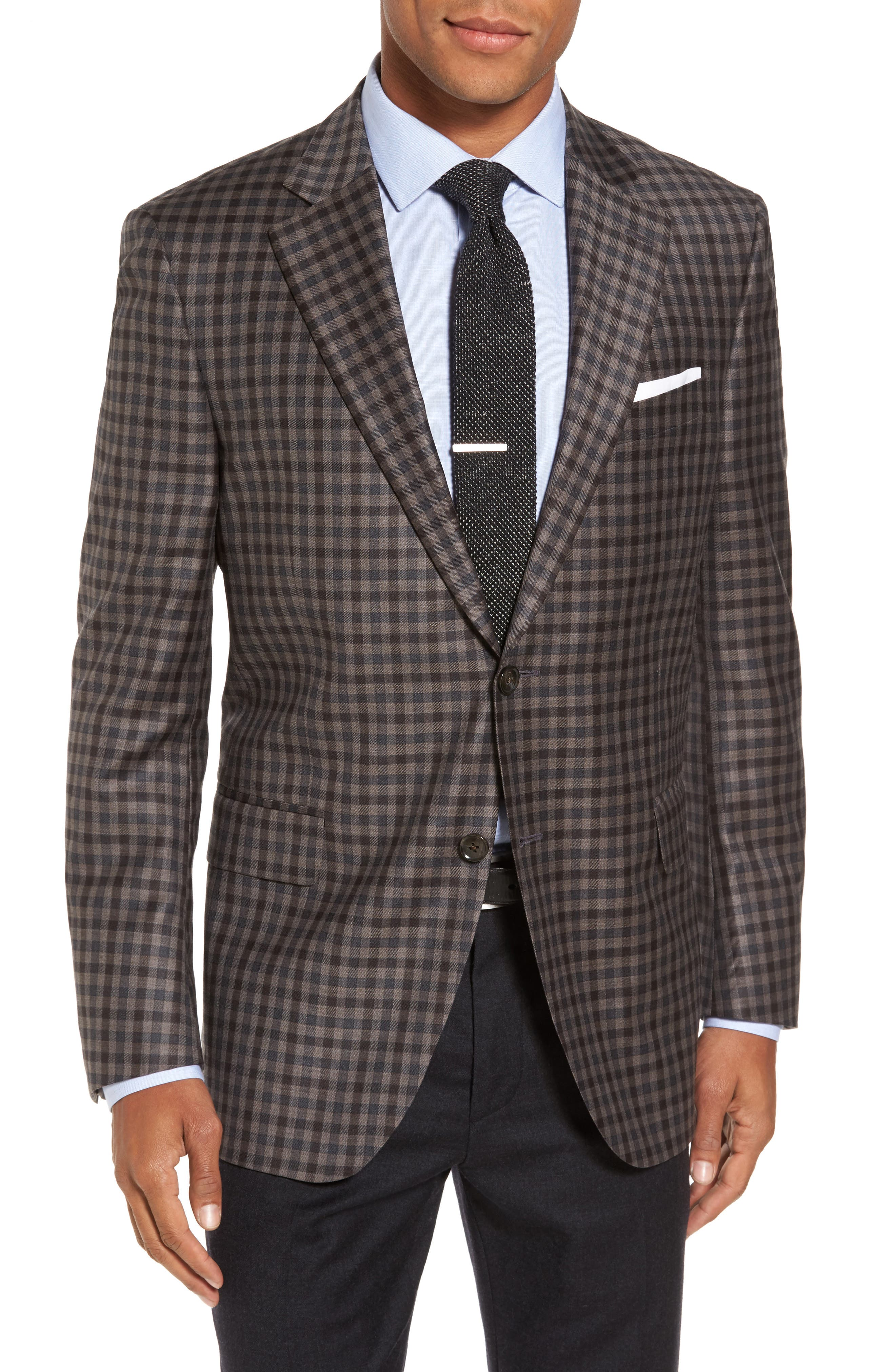 Flynn Classic Fit Check Wool Sport Coat,                         Main,                         color, Brown