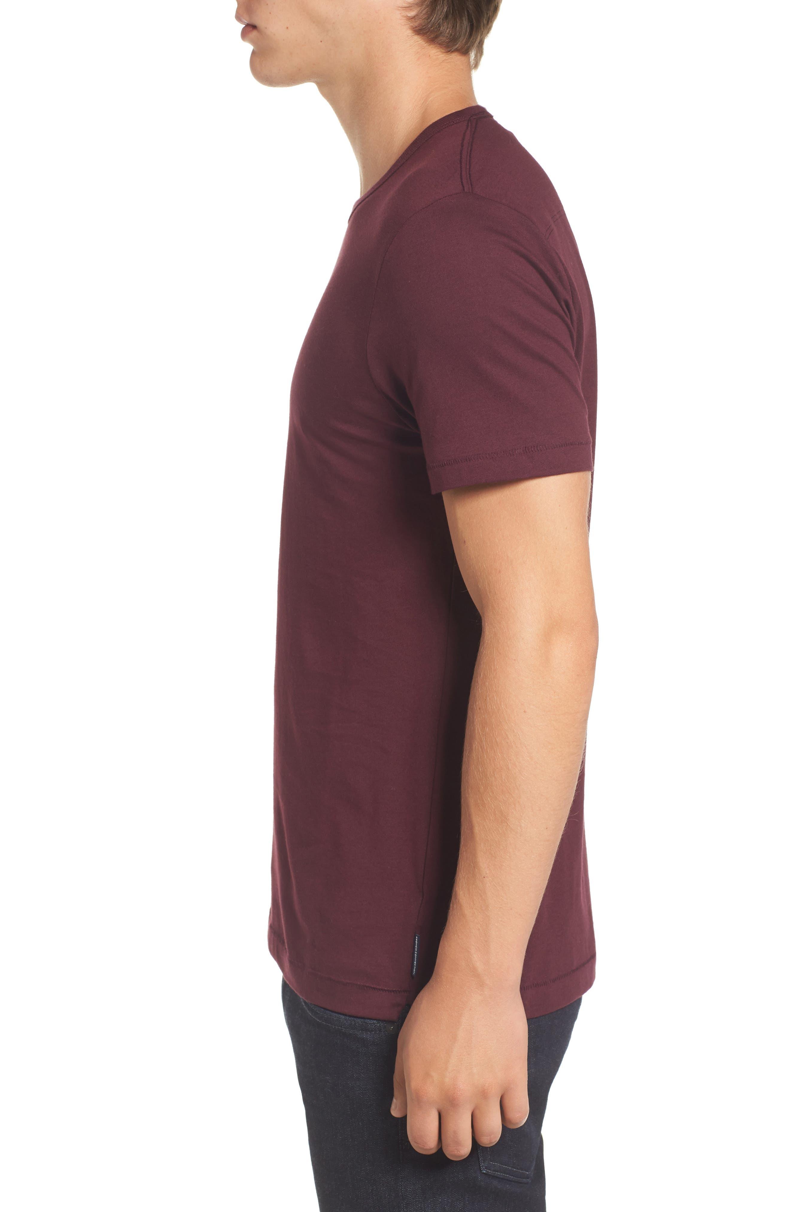 Slim Fit Crewneck T-Shirt,                             Alternate thumbnail 3, color,                             Bordeaux