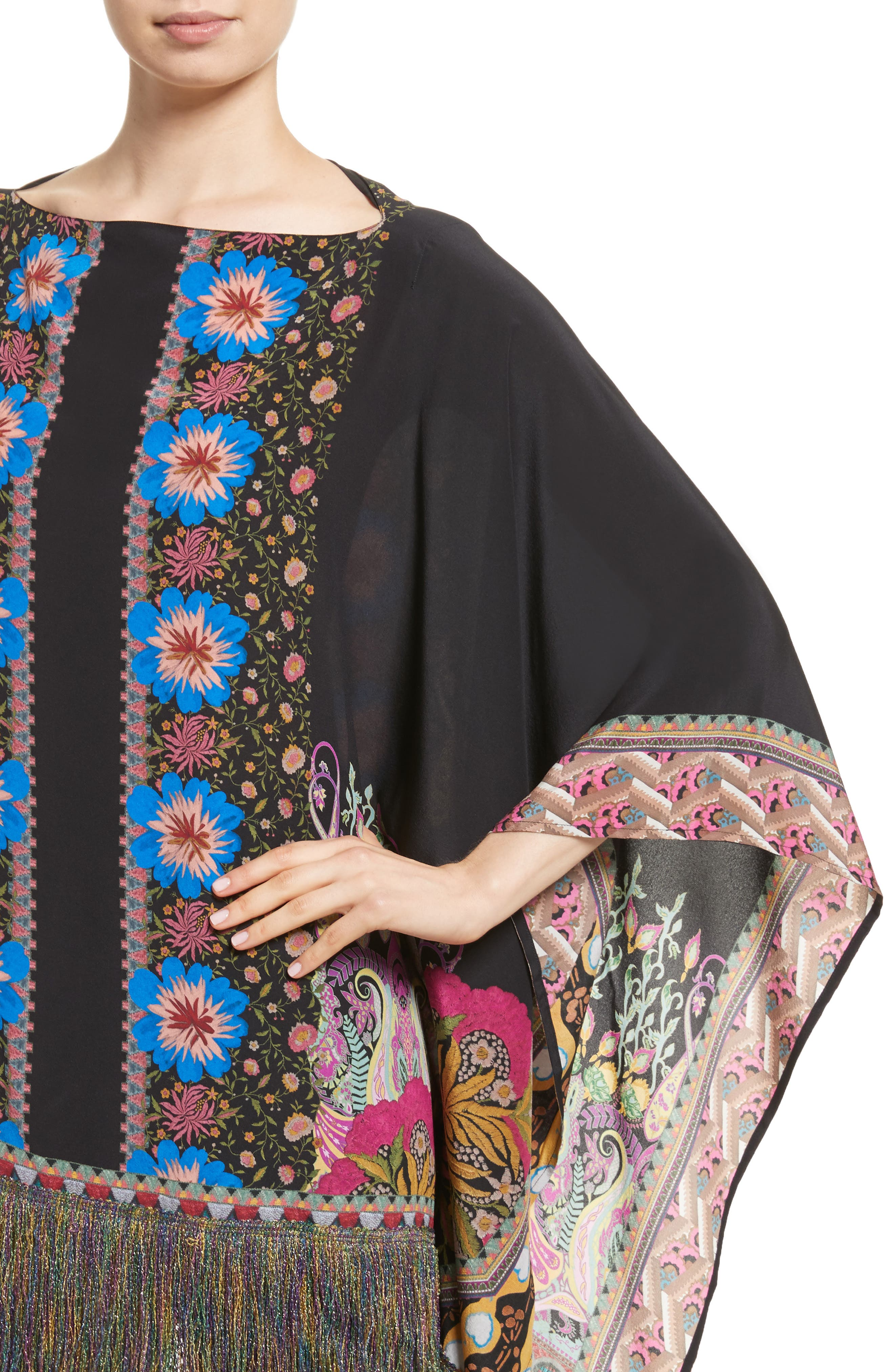 Fringe Trim Floral Paisley Silk Poncho,                             Alternate thumbnail 4, color,                             Multi
