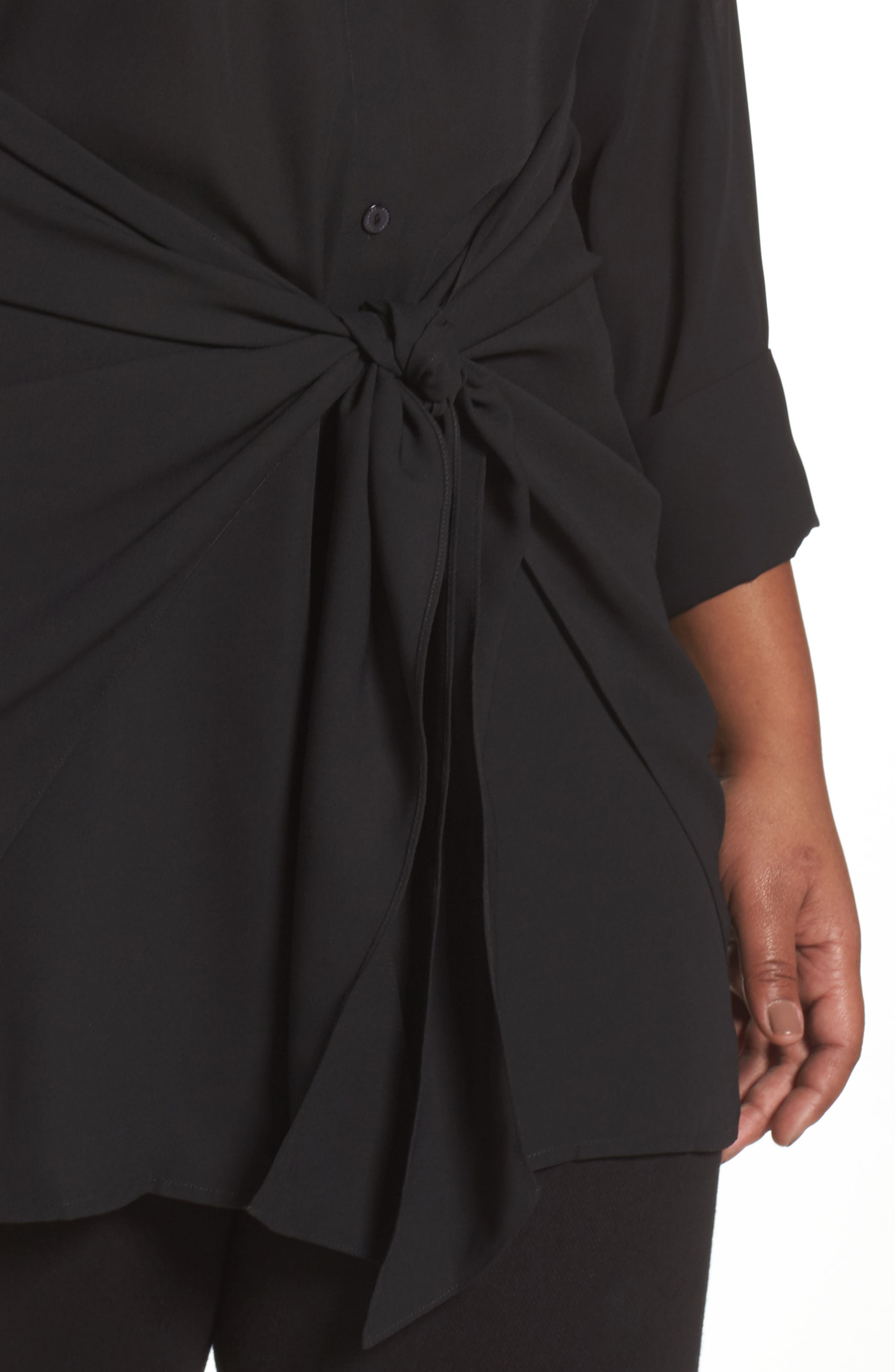 Alternate Image 4  - Foxcroft Serena Knotted Crepe Tunic Blouse (Plus Size)