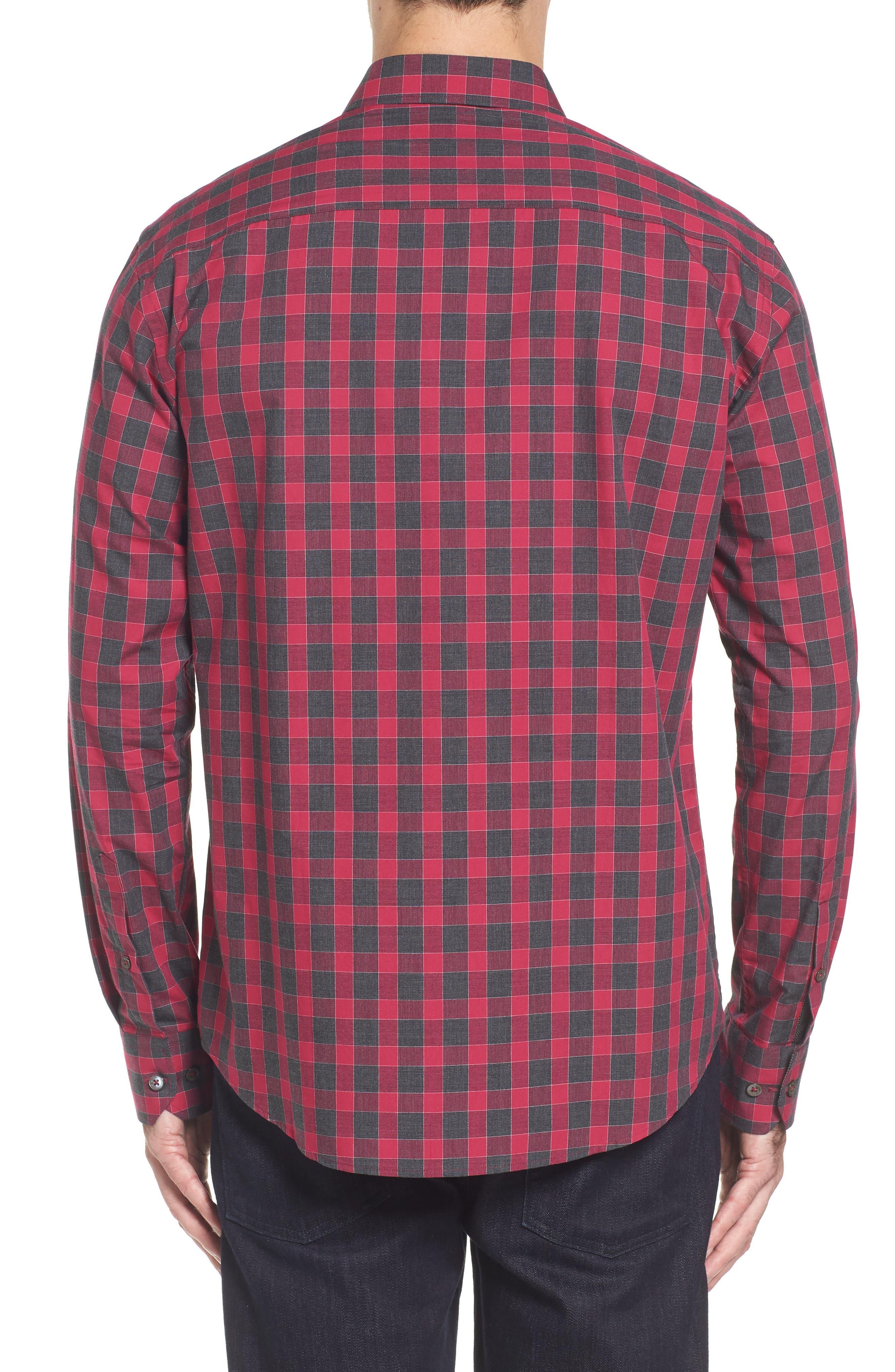 Slim Fit Check Sport Shirt,                             Alternate thumbnail 2, color,                             Fuchsia