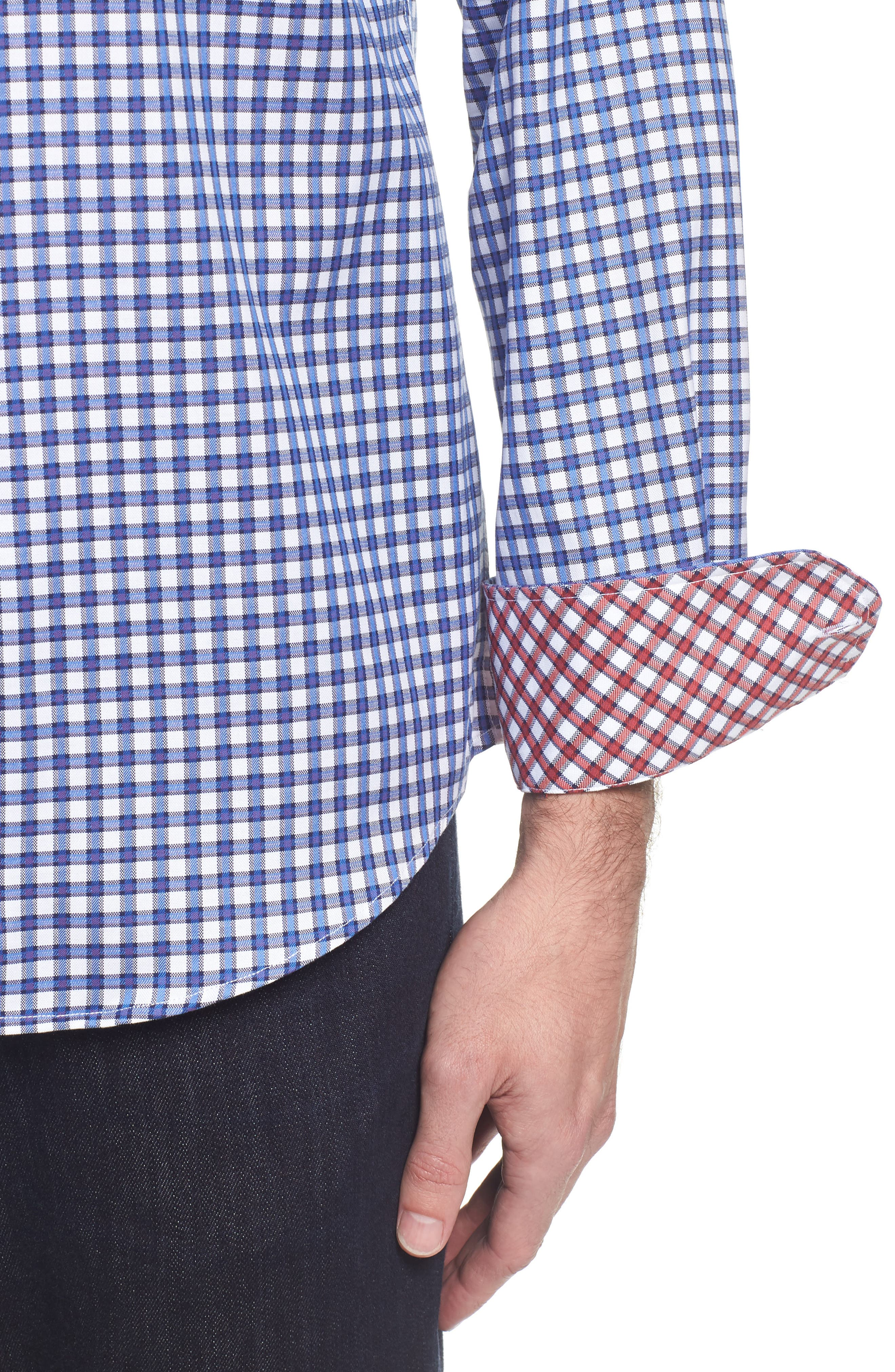 Slim Fit Check Sport Shirt,                             Alternate thumbnail 4, color,                             Classic Blue