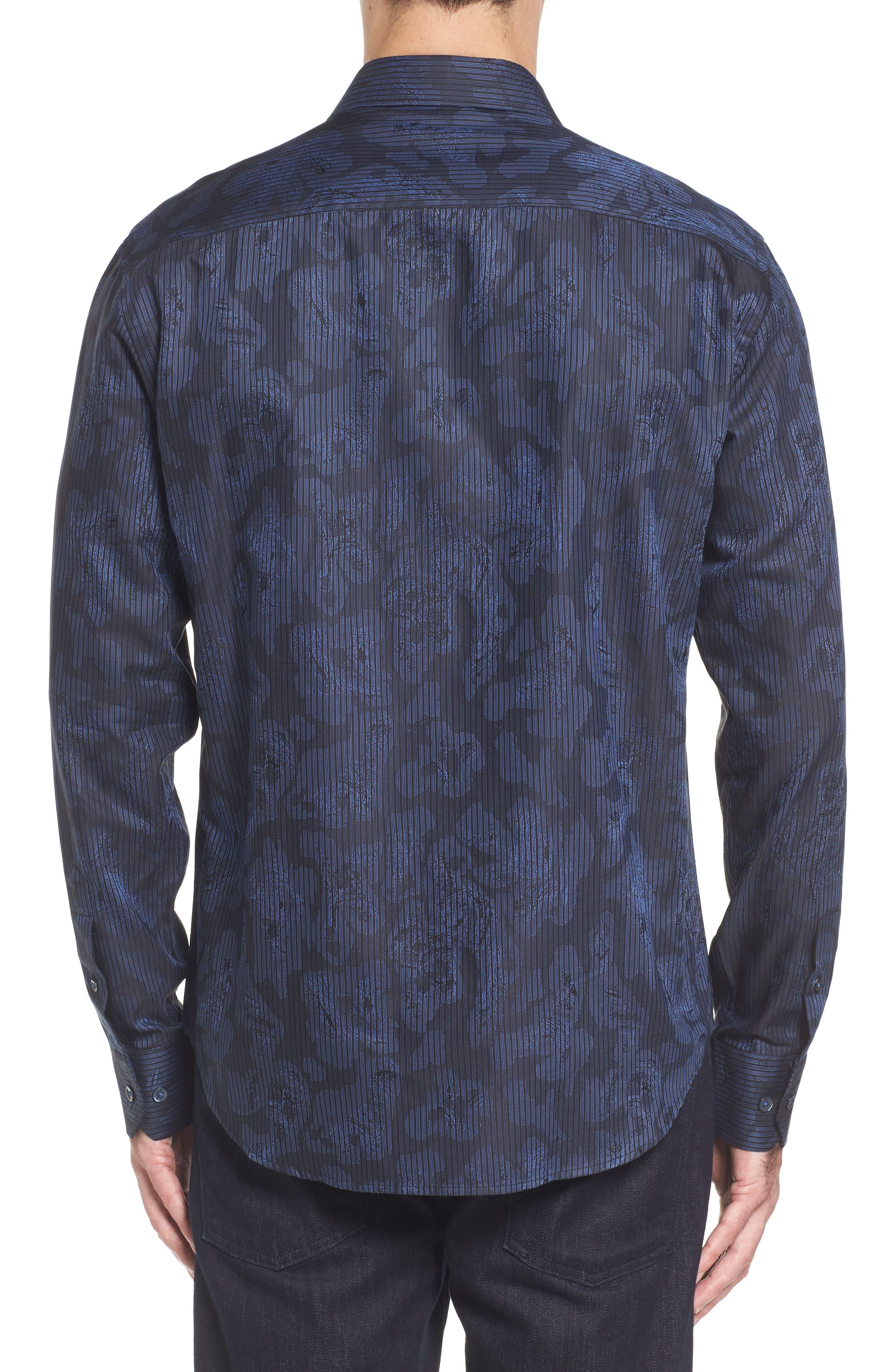 Alternate Image 2  - Bugatchi Slim Fit Jacquard Stripe Sport Shirt