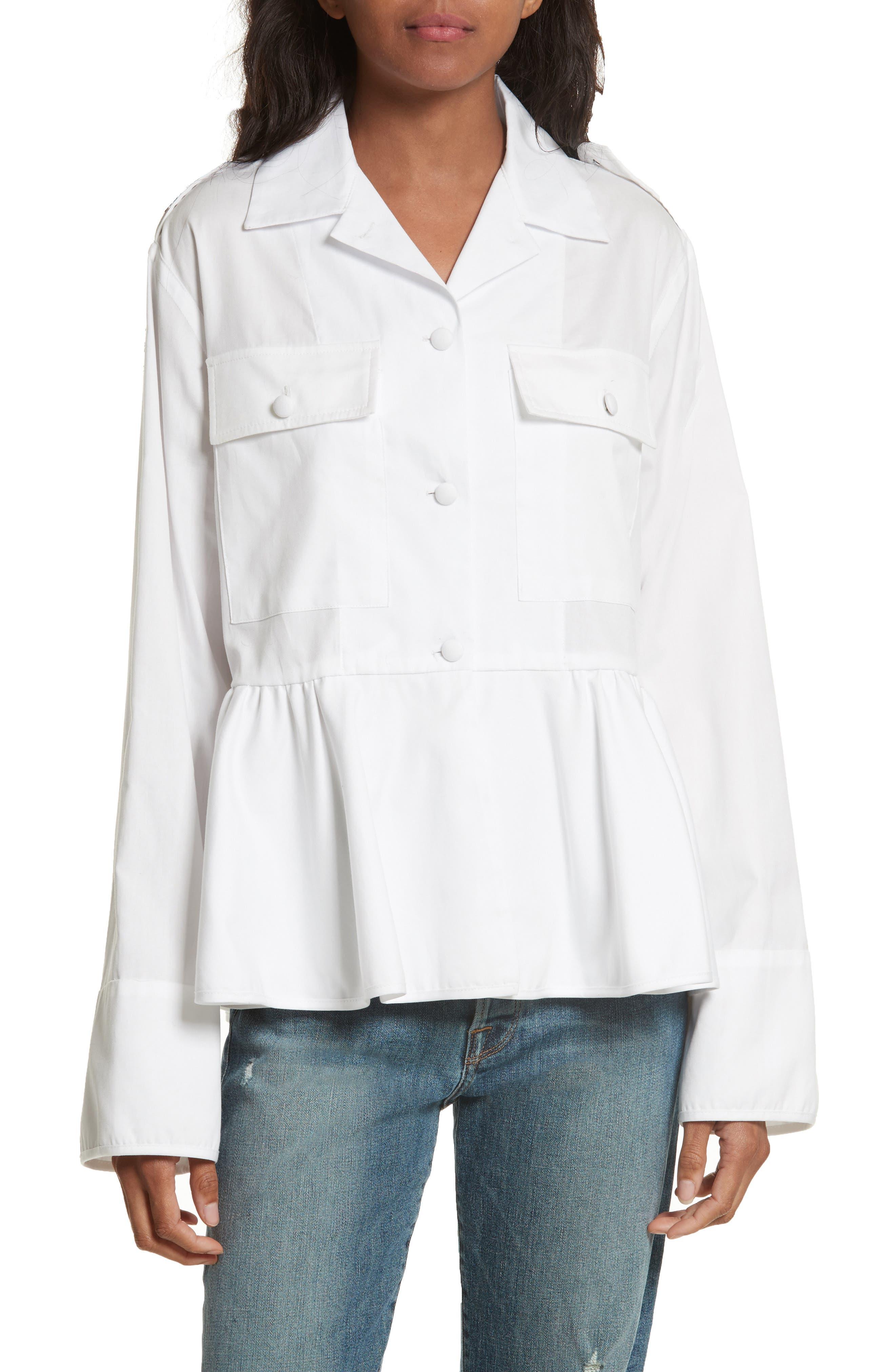 Cotton Oxford Peplum Blouse,                         Main,                         color, White