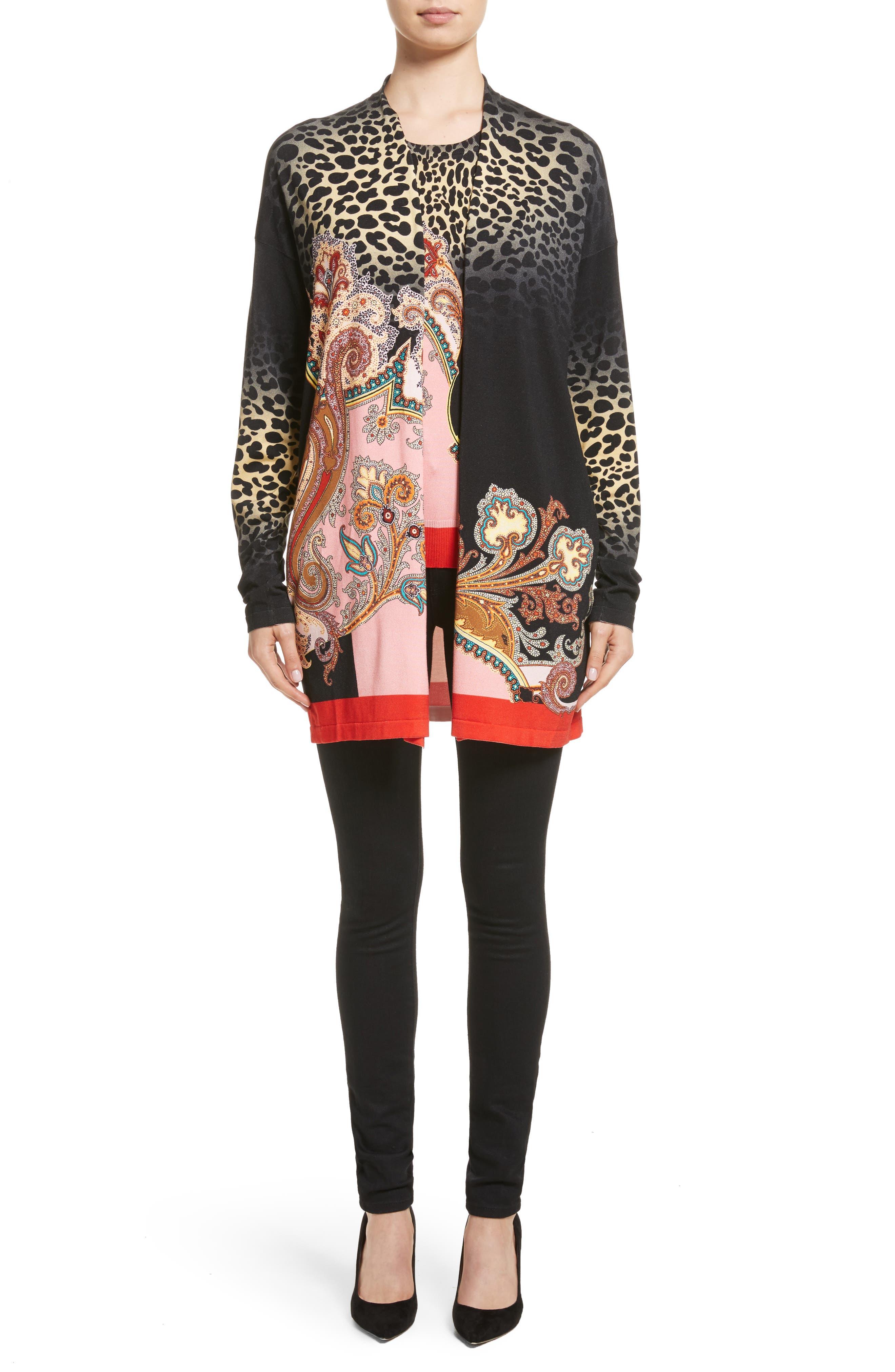 Main Image - Etro Leopard Paisley Stretch Silk Cardigan