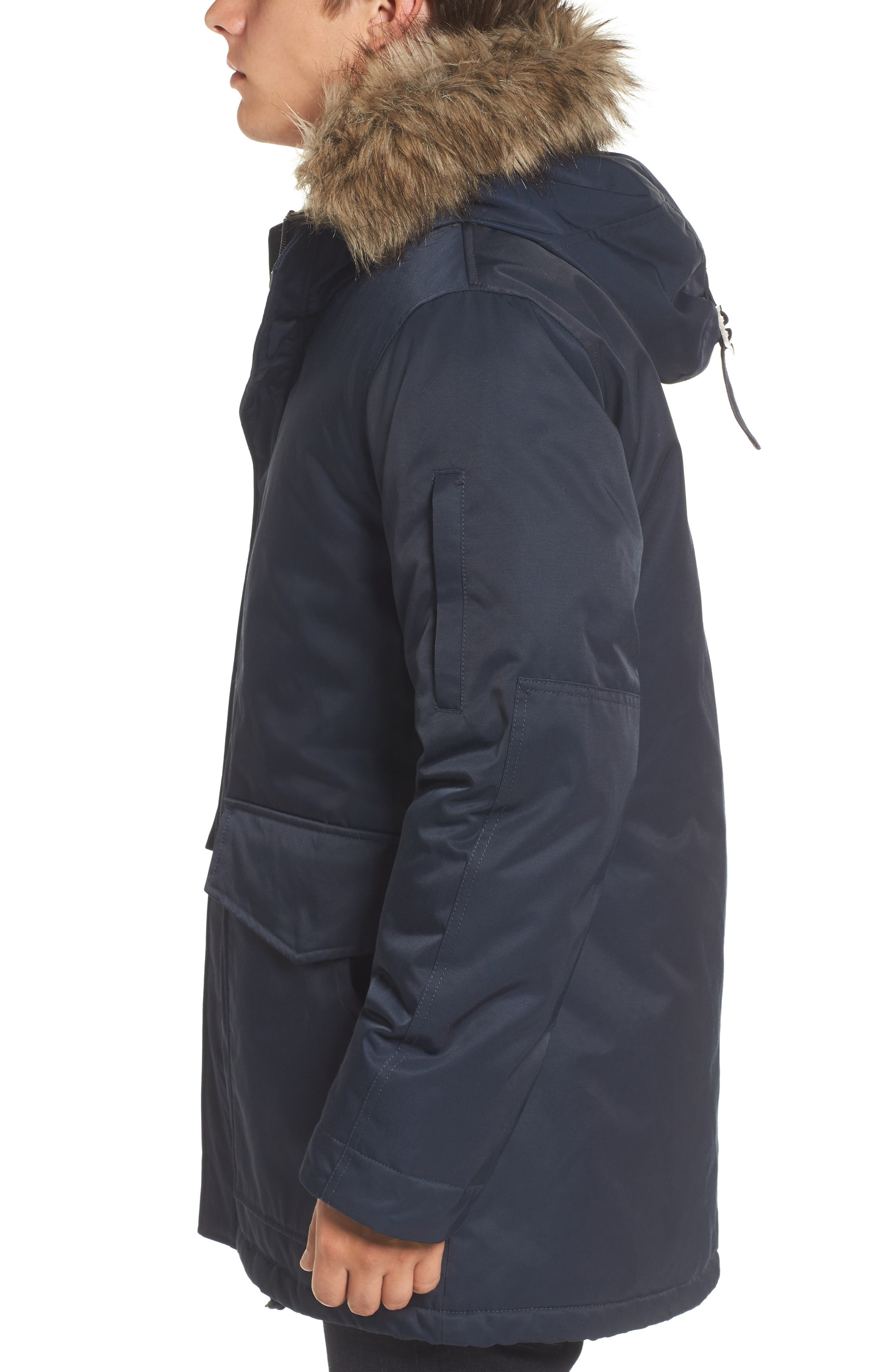 Bystander Hooded Parka with Faux Fur Trim,                             Alternate thumbnail 3, color,                             Marine Blue