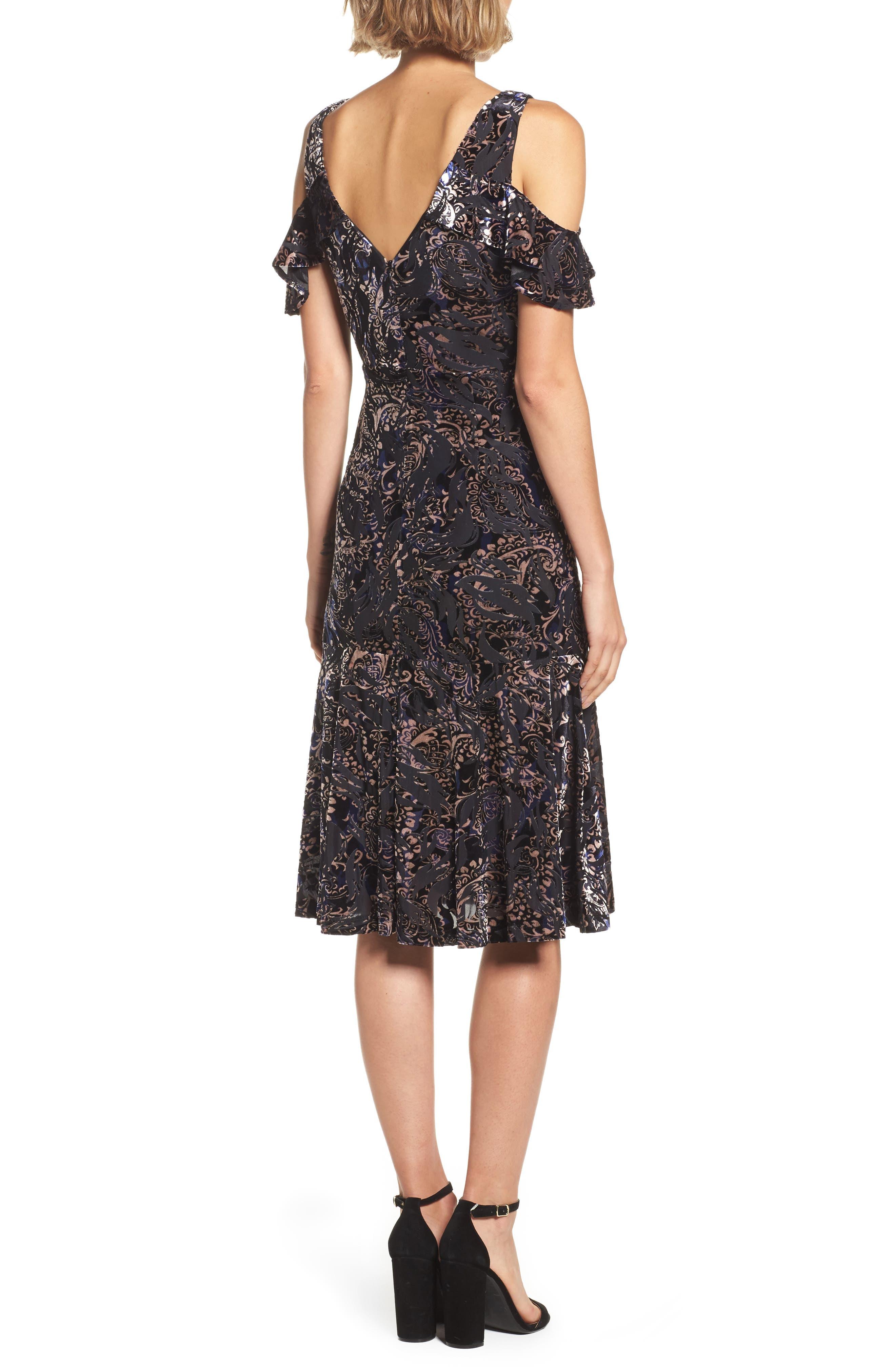 Alternate Image 2  - Adrianna Papell Cold Shoulder Velvet Burnout Dress