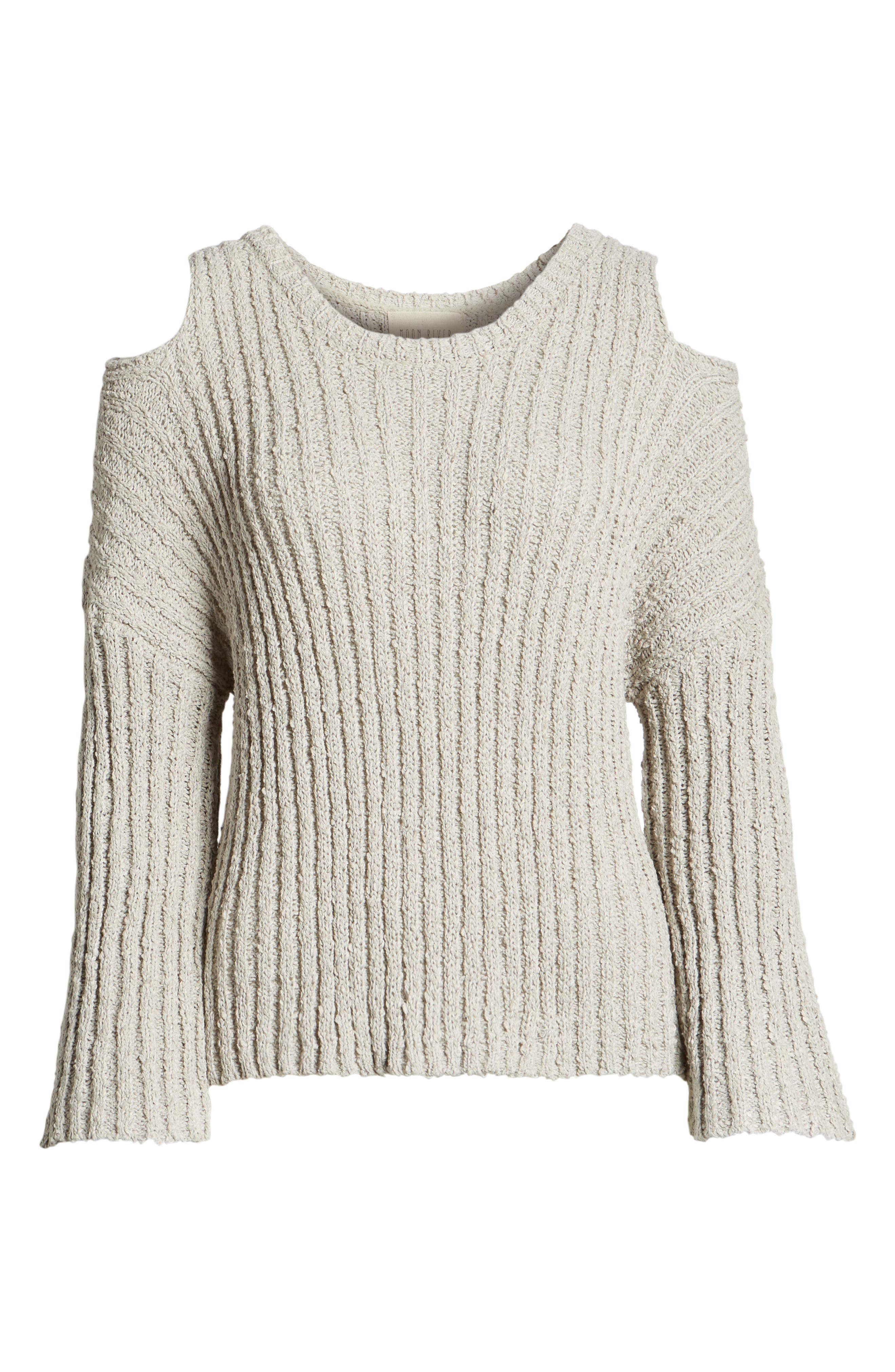 Fuzzy Knit Cold Shoulder Sweater,                             Alternate thumbnail 6, color,                             Grey