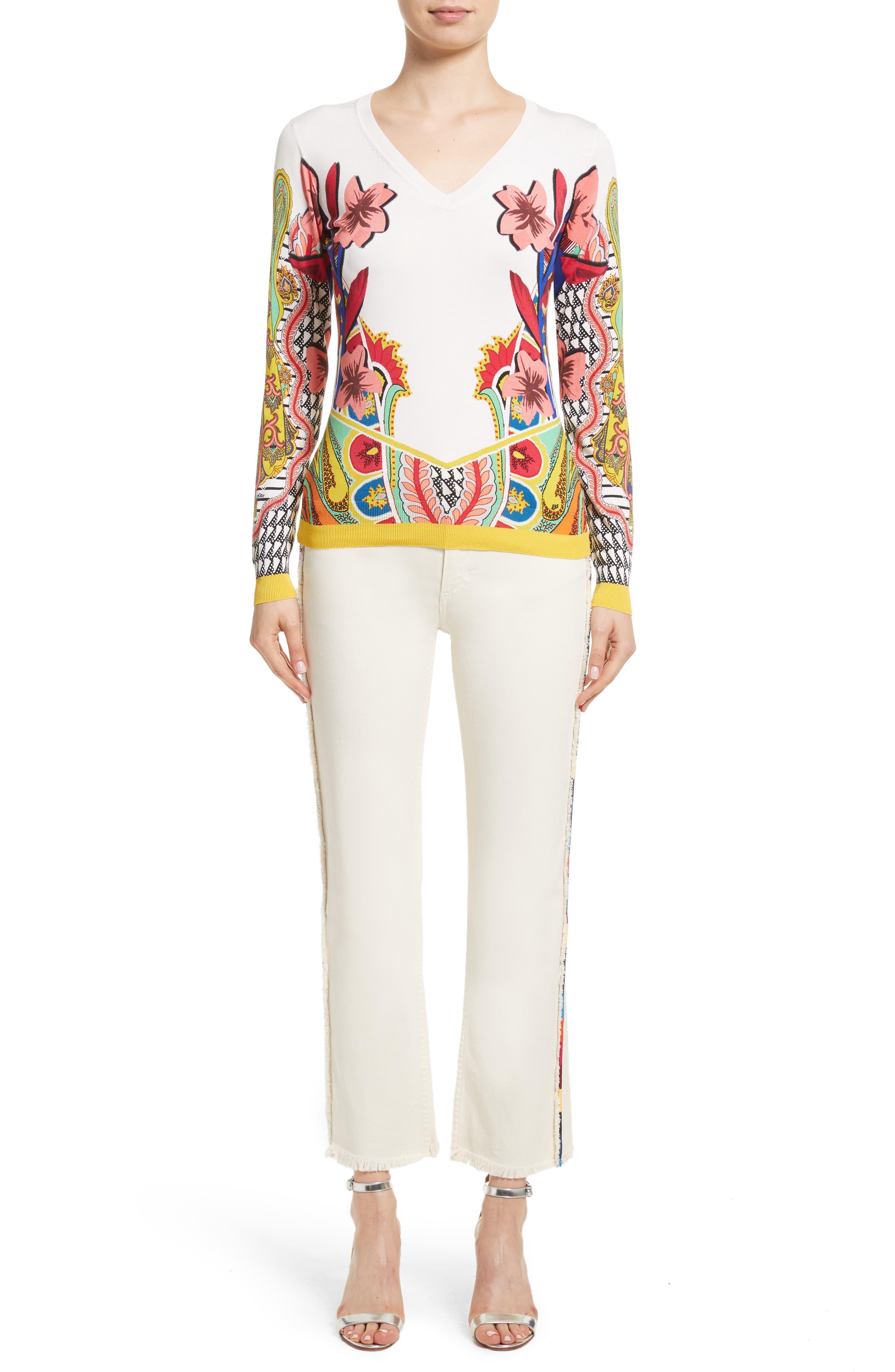Alternate Image 7  - Etro Floral Stretch Silk Sweater