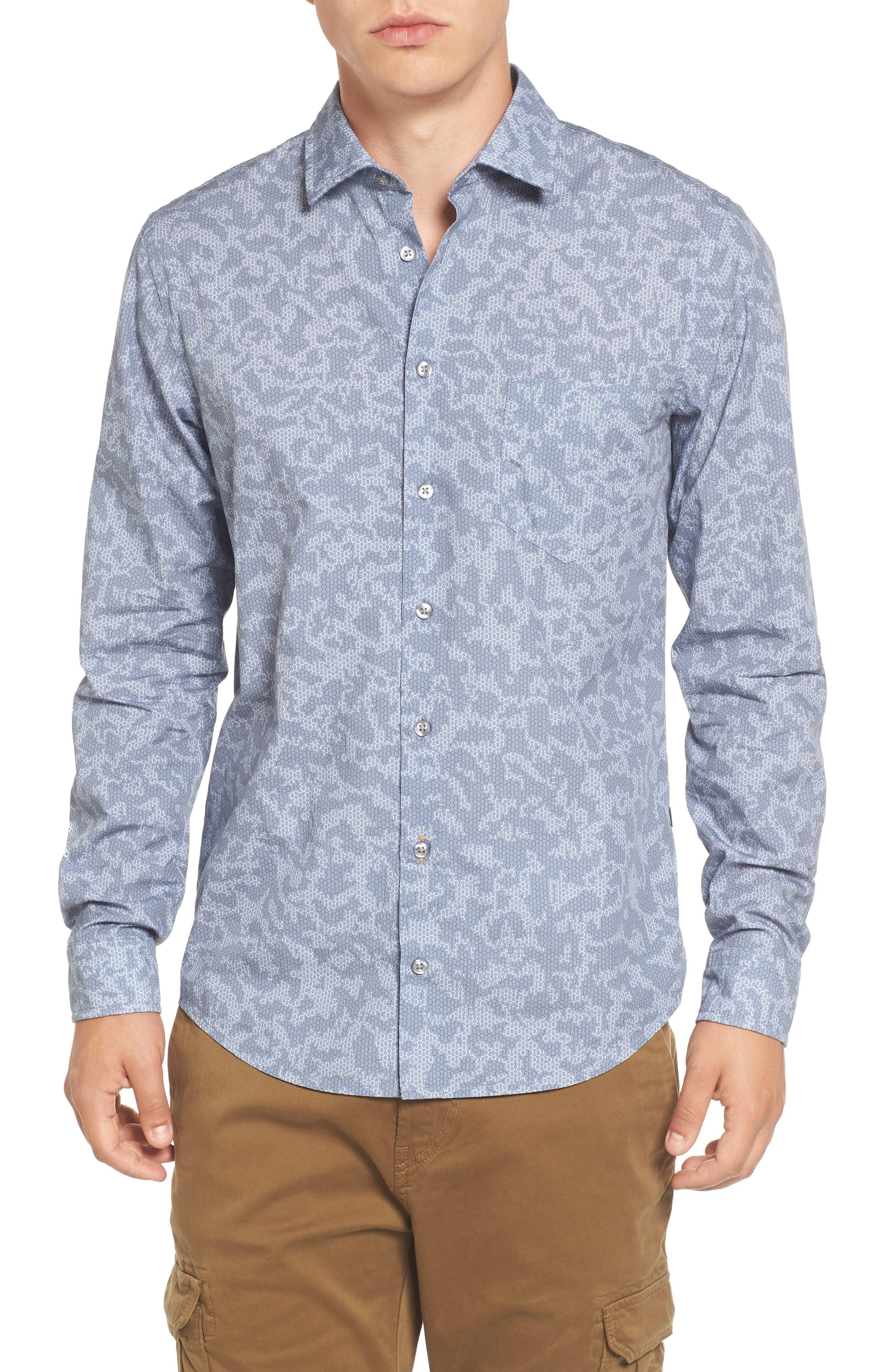 Print Woven Shirt,                         Main,                         color, Blue