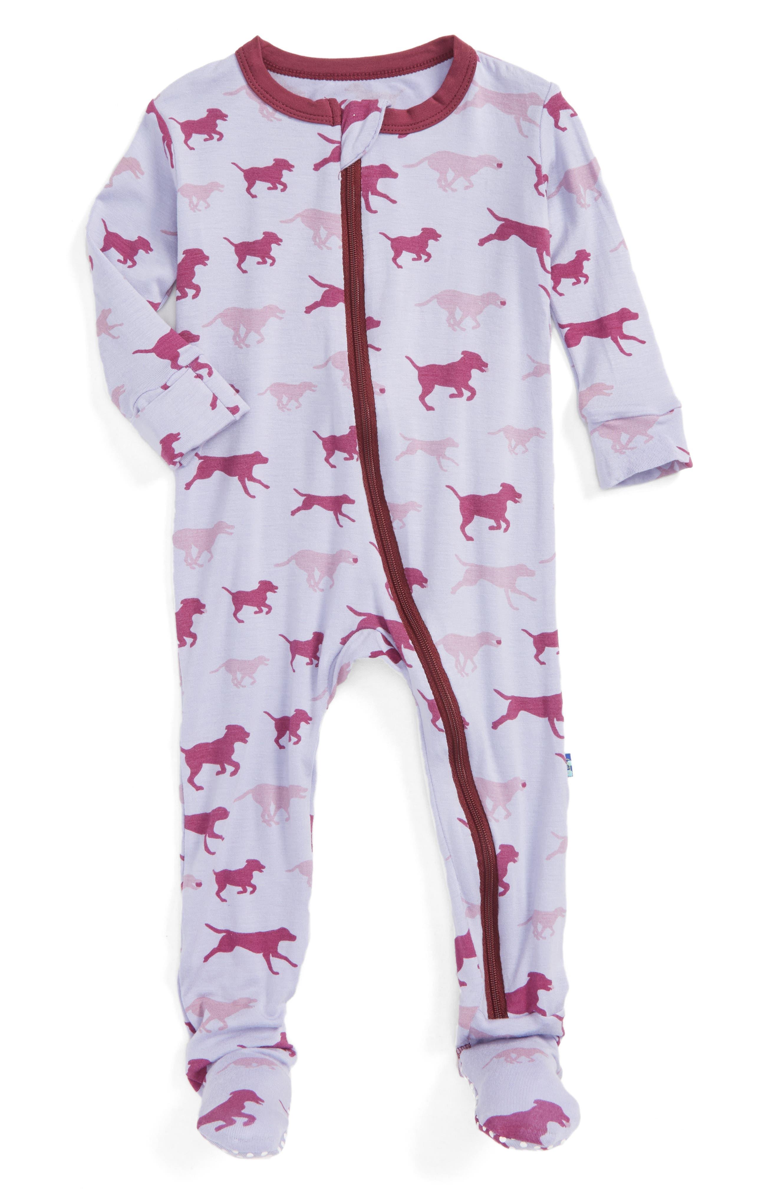 KICKEE PANTS Print Fitted One-Piece Footie Pajamas
