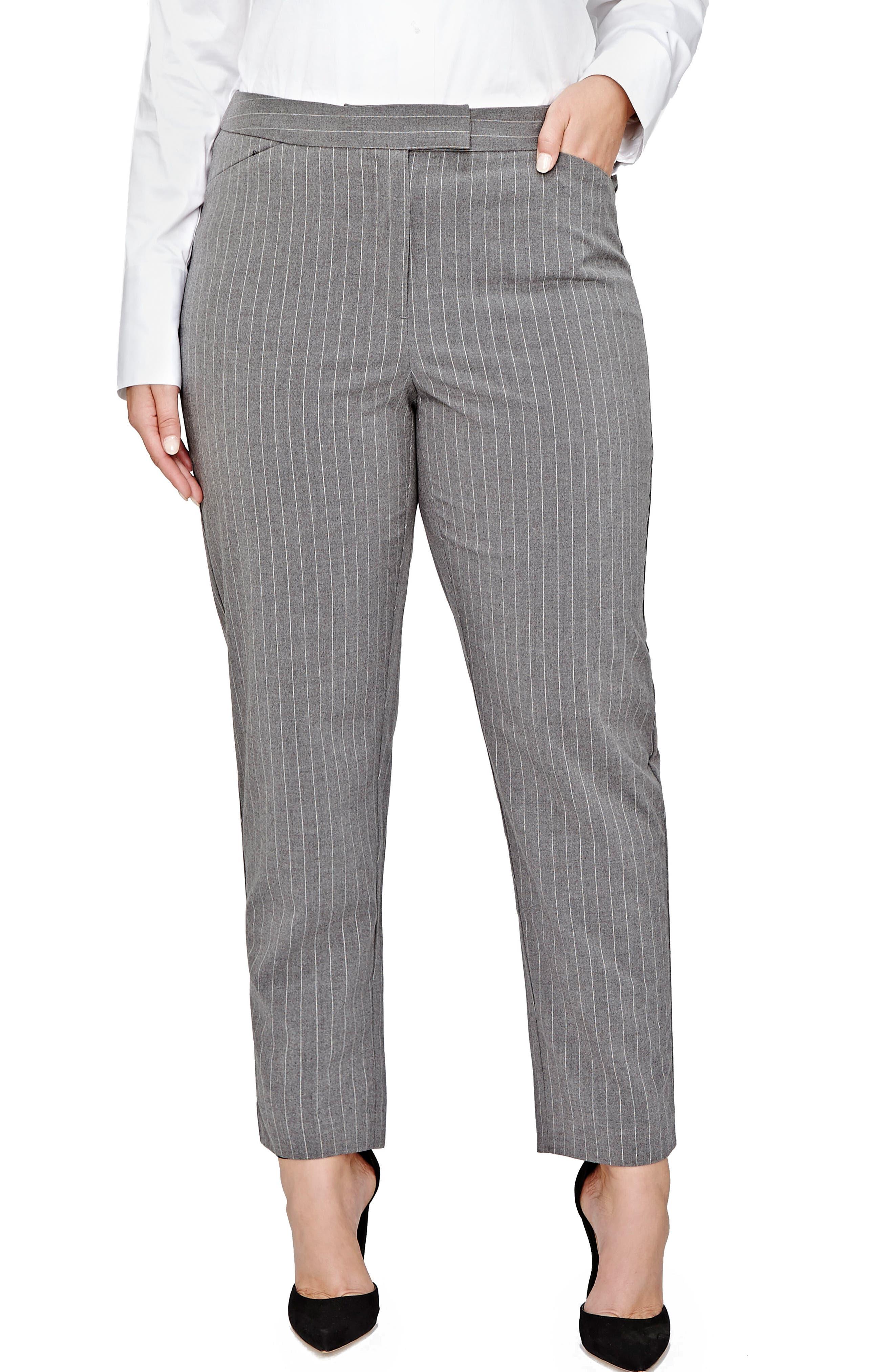 Pinstripe Cigarette Pants,                         Main,                         color, Medium Grey Mix Combo