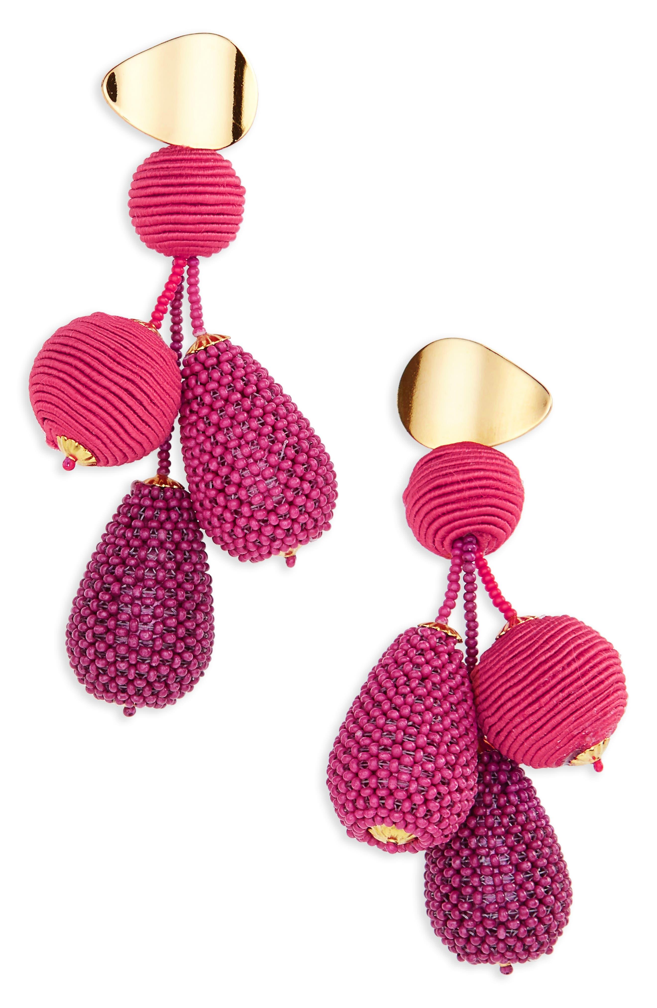 Meteor Drop Earrings,                         Main,                         color, Pink