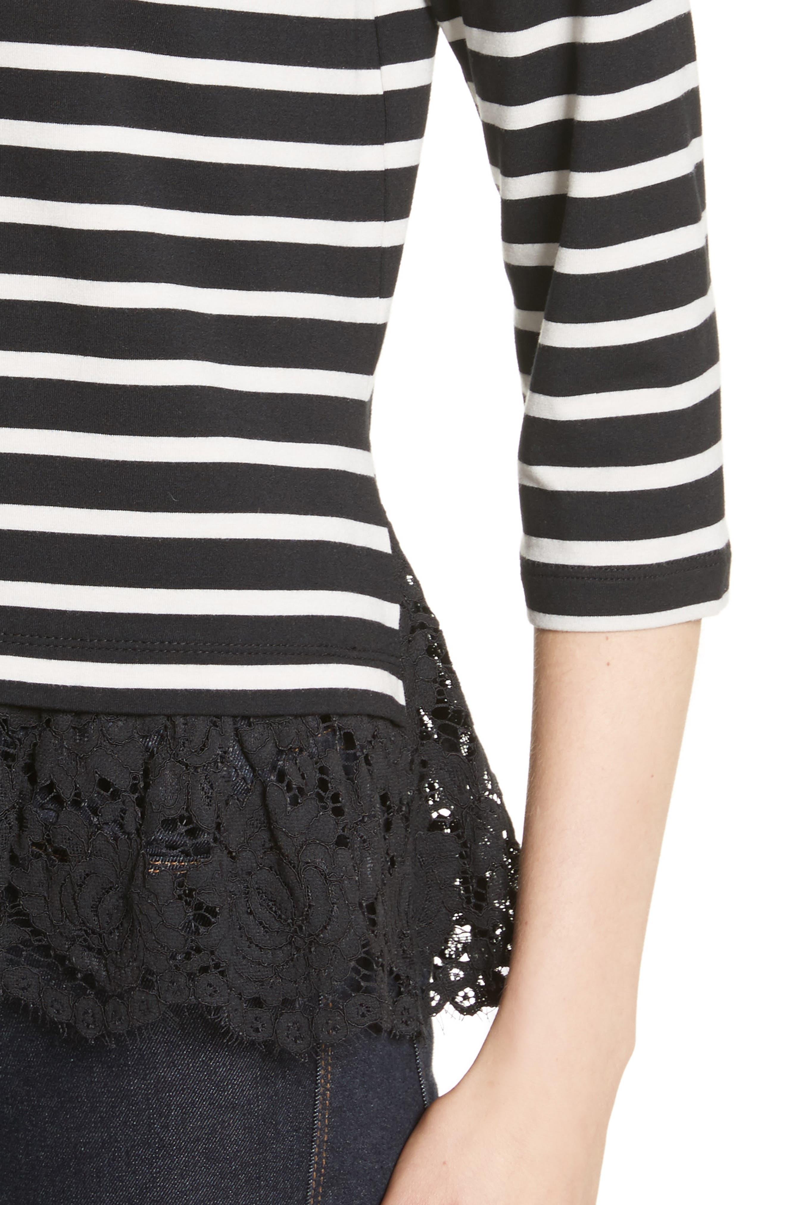 kate spade lace flounce stripe top,                             Alternate thumbnail 4, color,                             Black/ Off-White