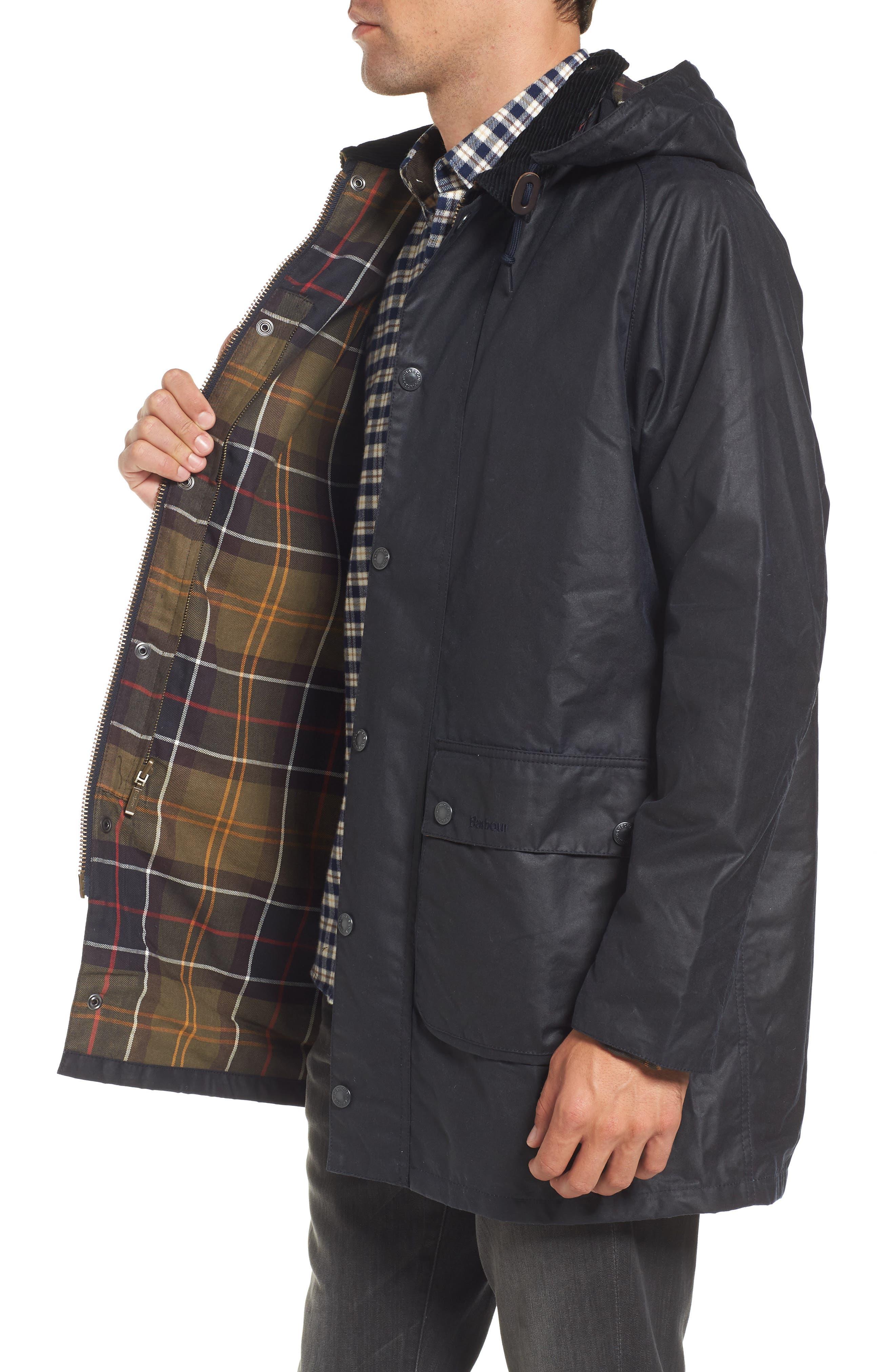 Leighton Waxed Cotton Jacket,                             Alternate thumbnail 3, color,                             Navy