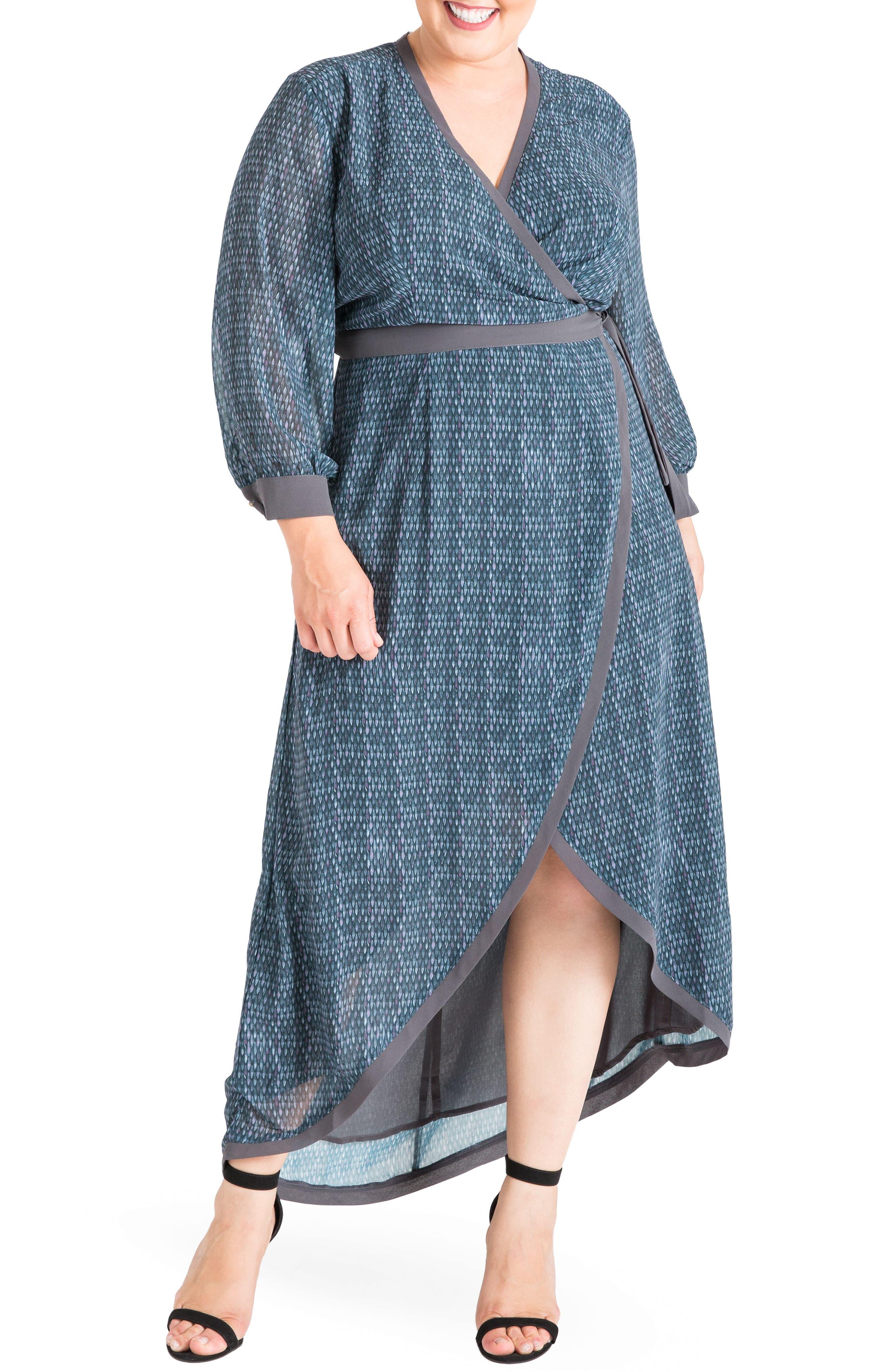 Elle High/Low Wrap Dress,                         Main,                         color, Snake Charm