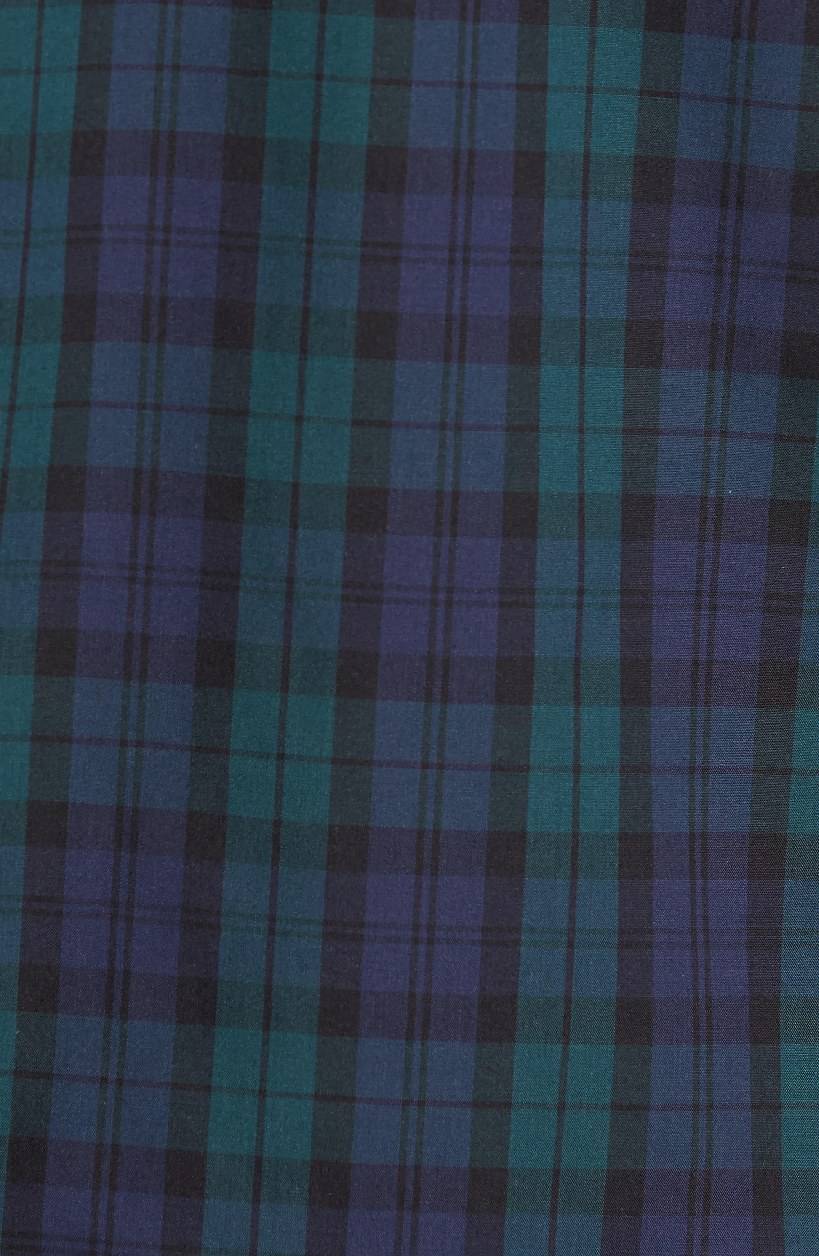 Regular Fit Non-Iron Plaid Sport Shirt,                             Alternate thumbnail 5, color,                             Green Bug Navy Tartan