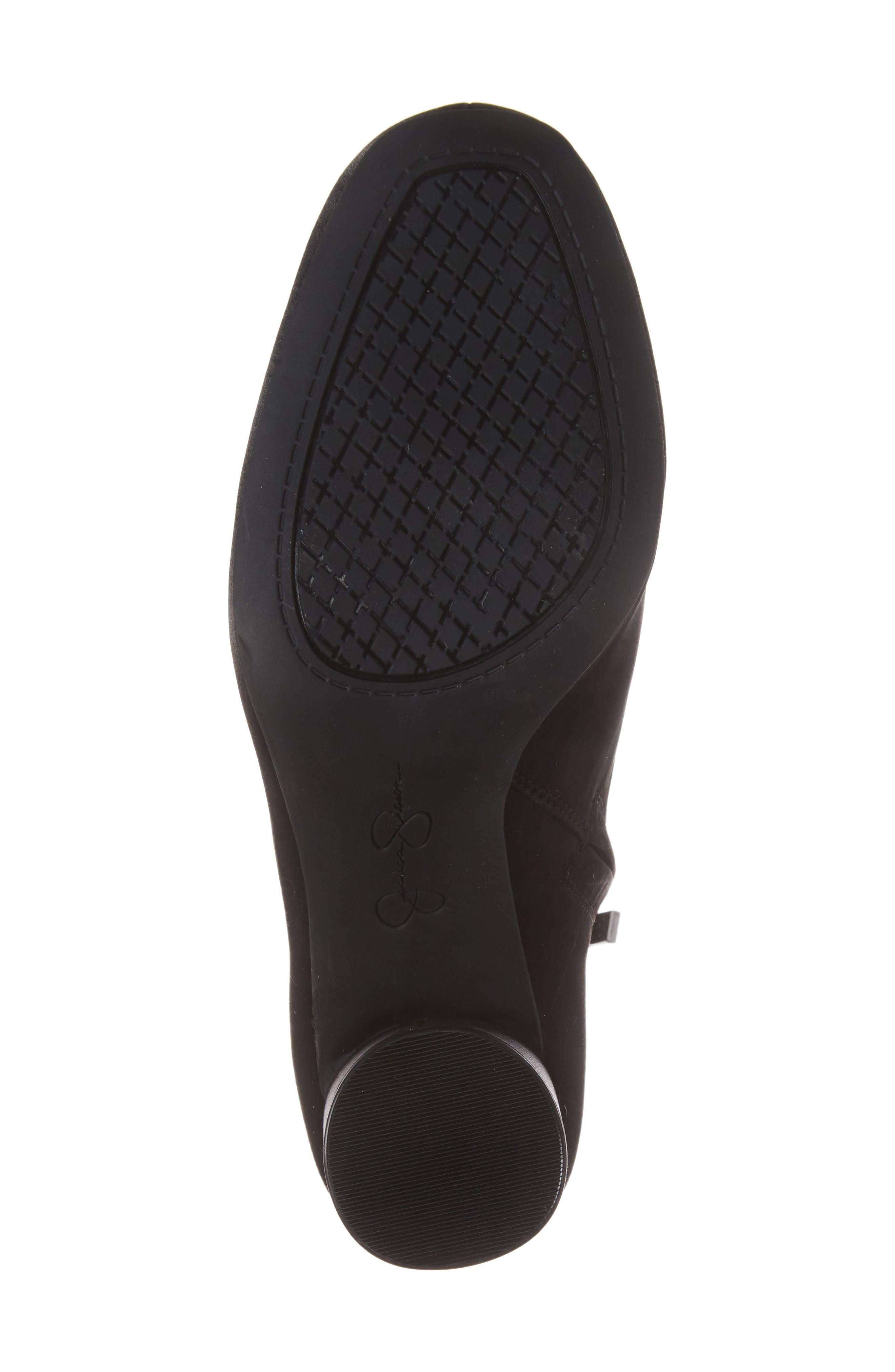 Merta Column Heel Bootie,                             Alternate thumbnail 6, color,                             Black Satin