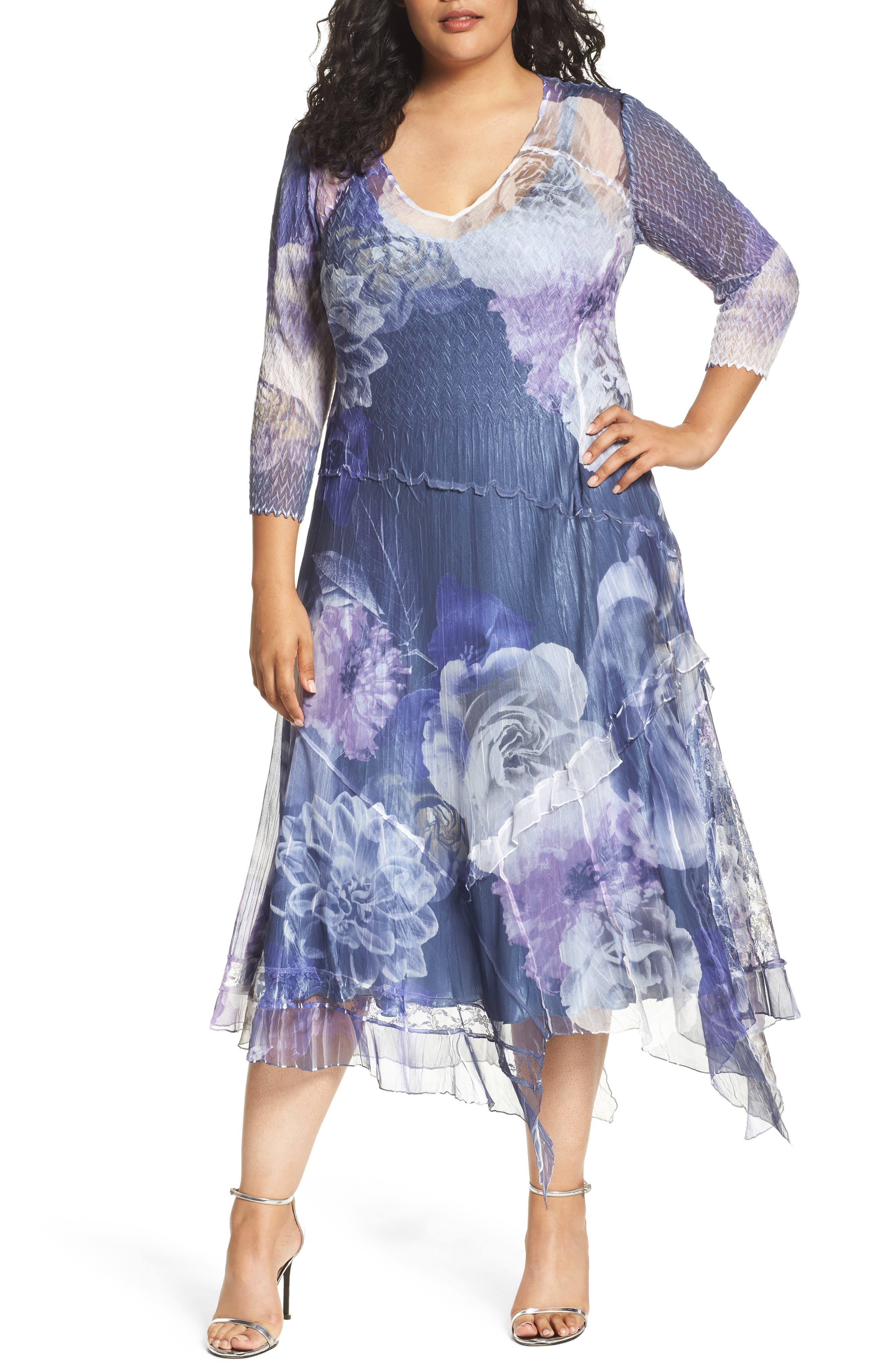 Chiffon Handkerchief Hem Dress,                         Main,                         color, Indigo Shadow