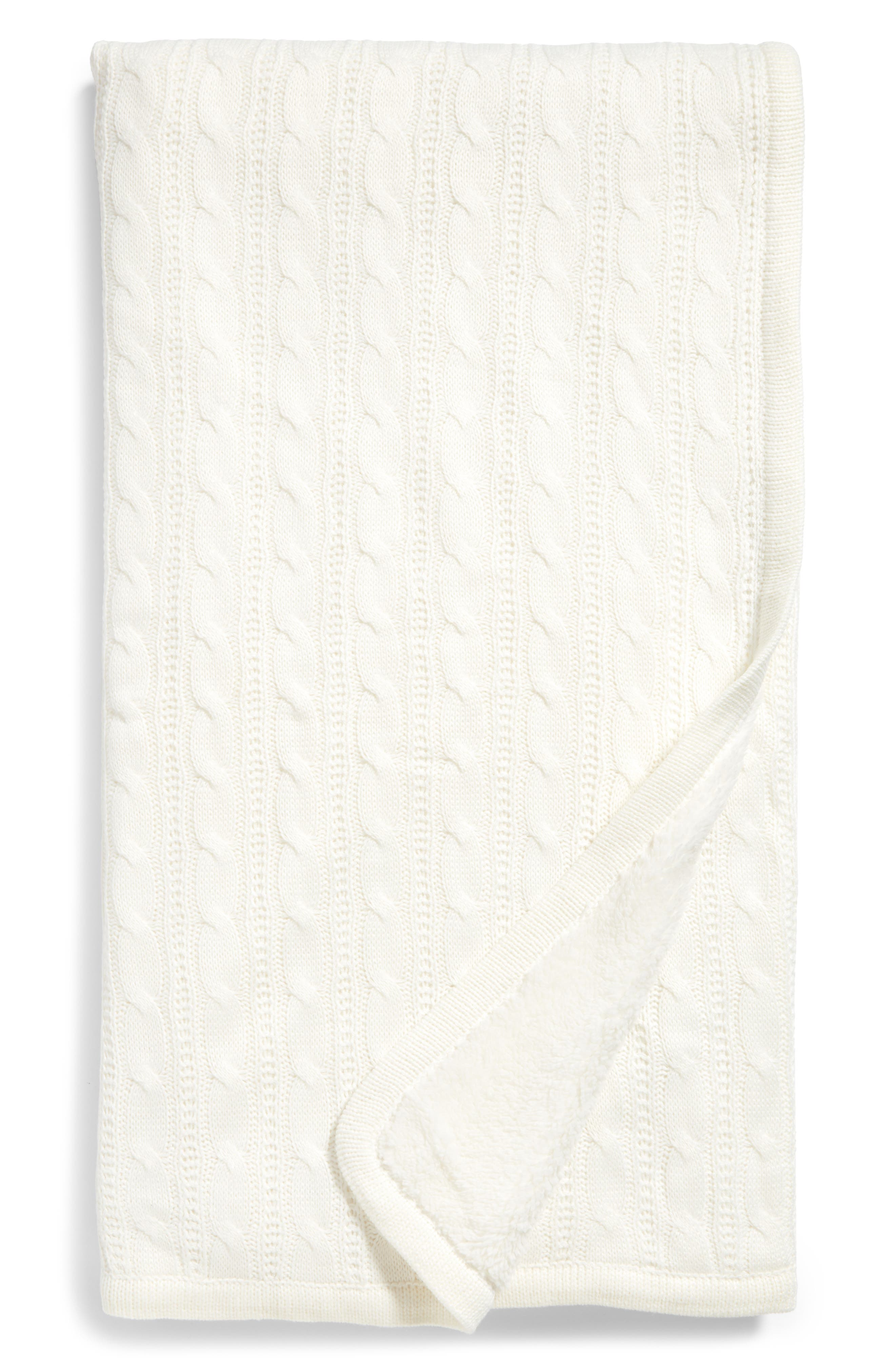 Cable Knit Throw Blanket,                             Main thumbnail 1, color,                             Ivory