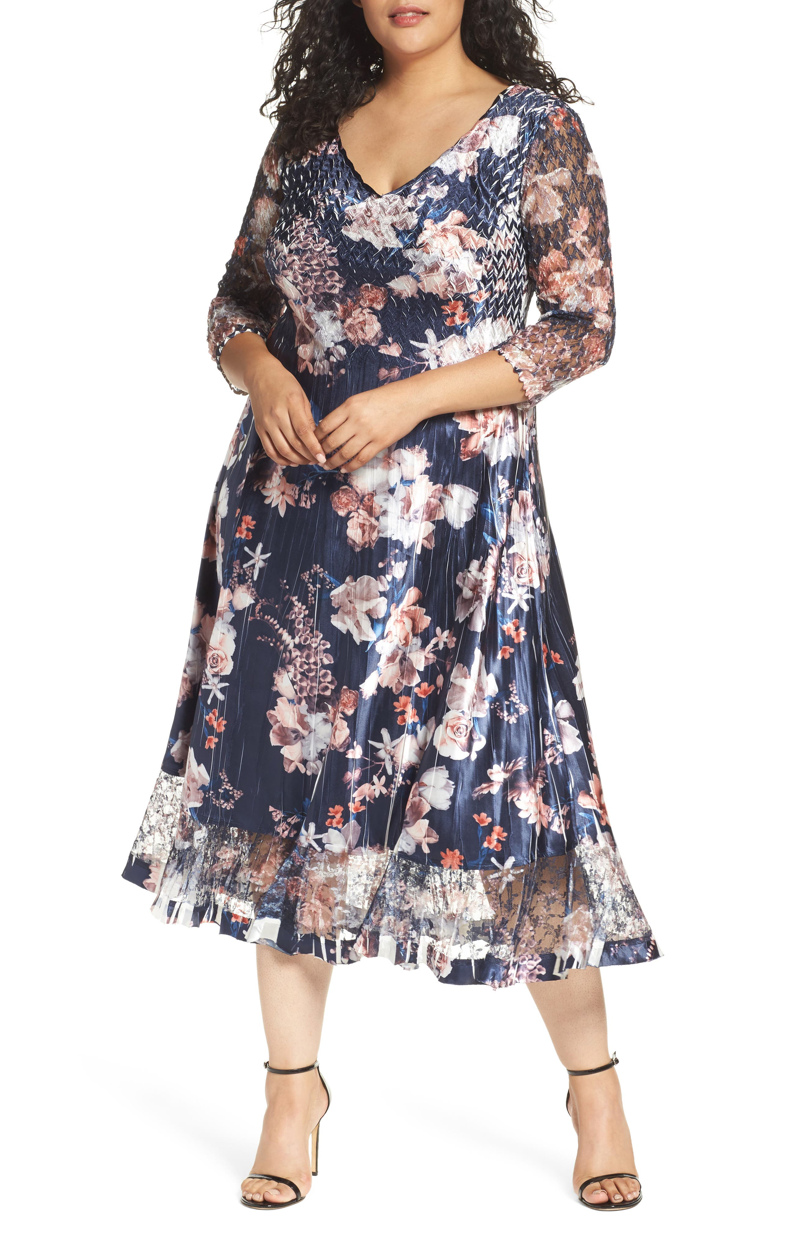 Komarov Charmeuse & Lace A-Line Dress (Plus Size)