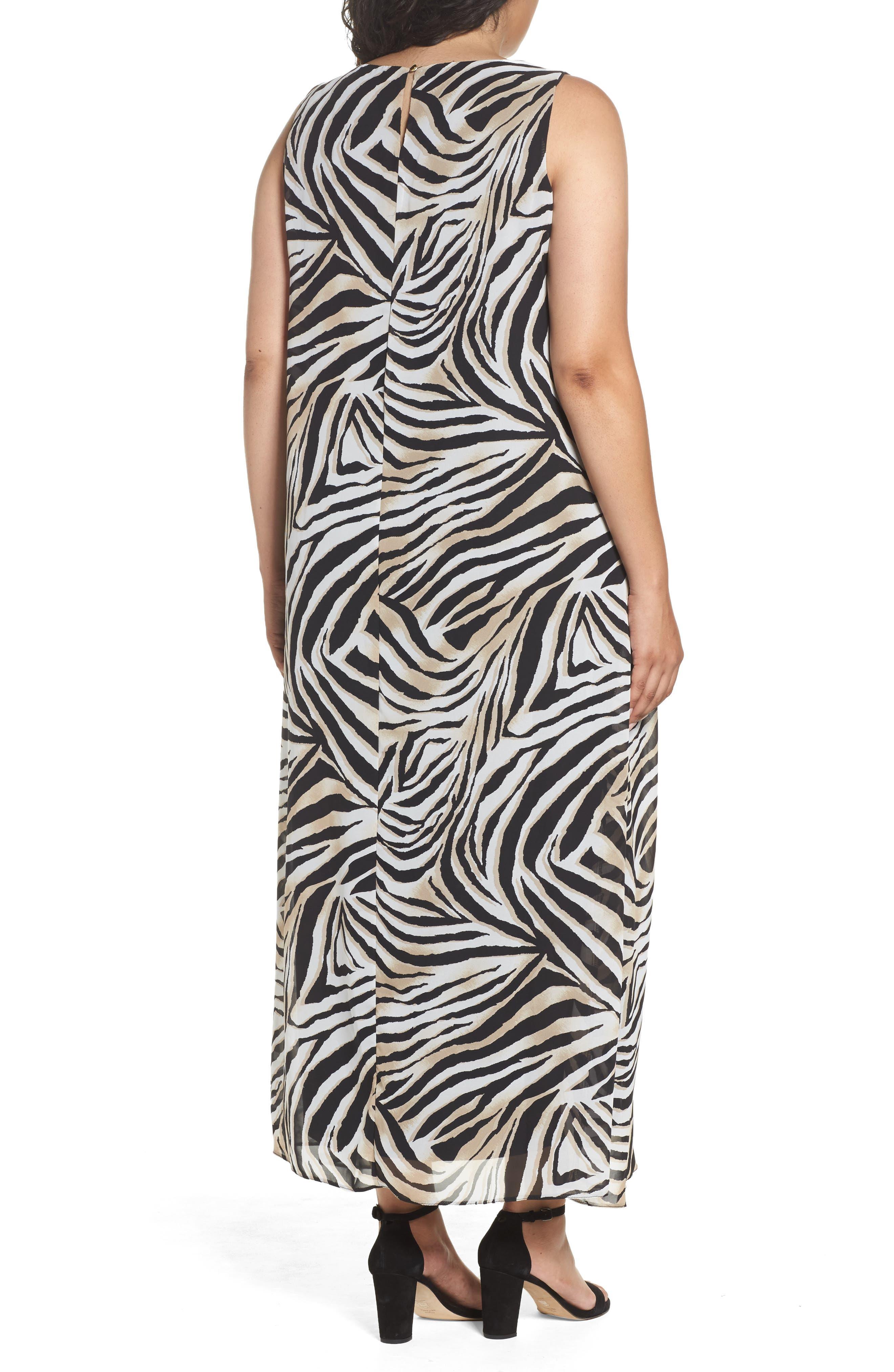 Alternate Image 2  - Evans Animal Print Split Maxi Dress (Plus Size)