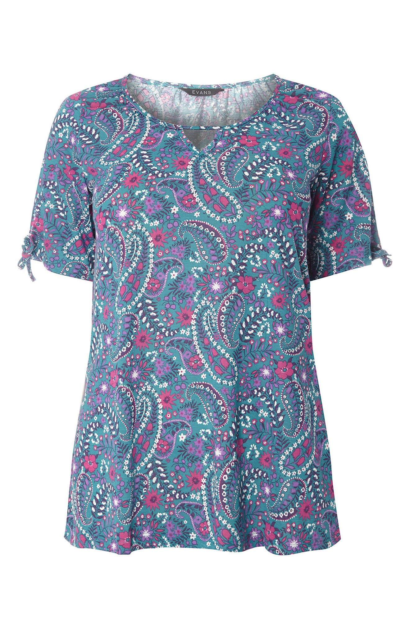 Paisley Floral Top,                             Alternate thumbnail 4, color,                             Teal