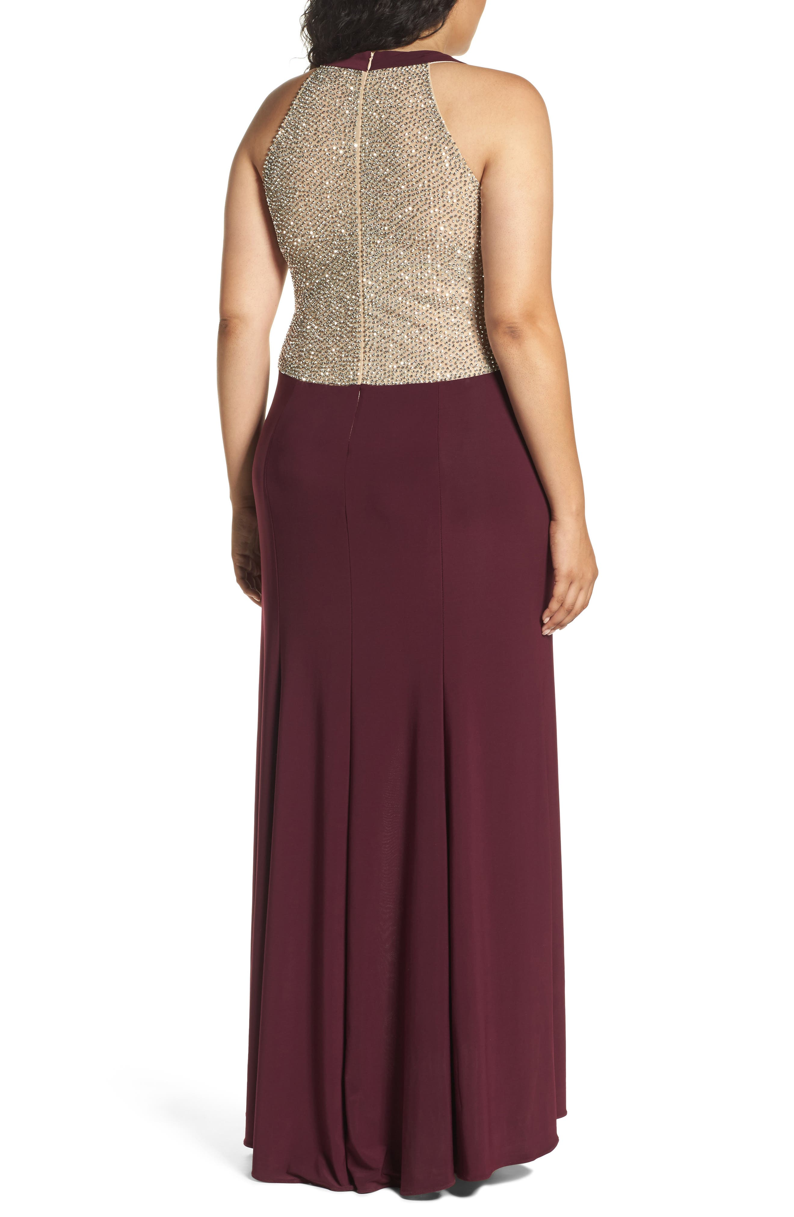 Alternate Image 2  - Xscape Embellished Back Jersey Gown (Plus Size)