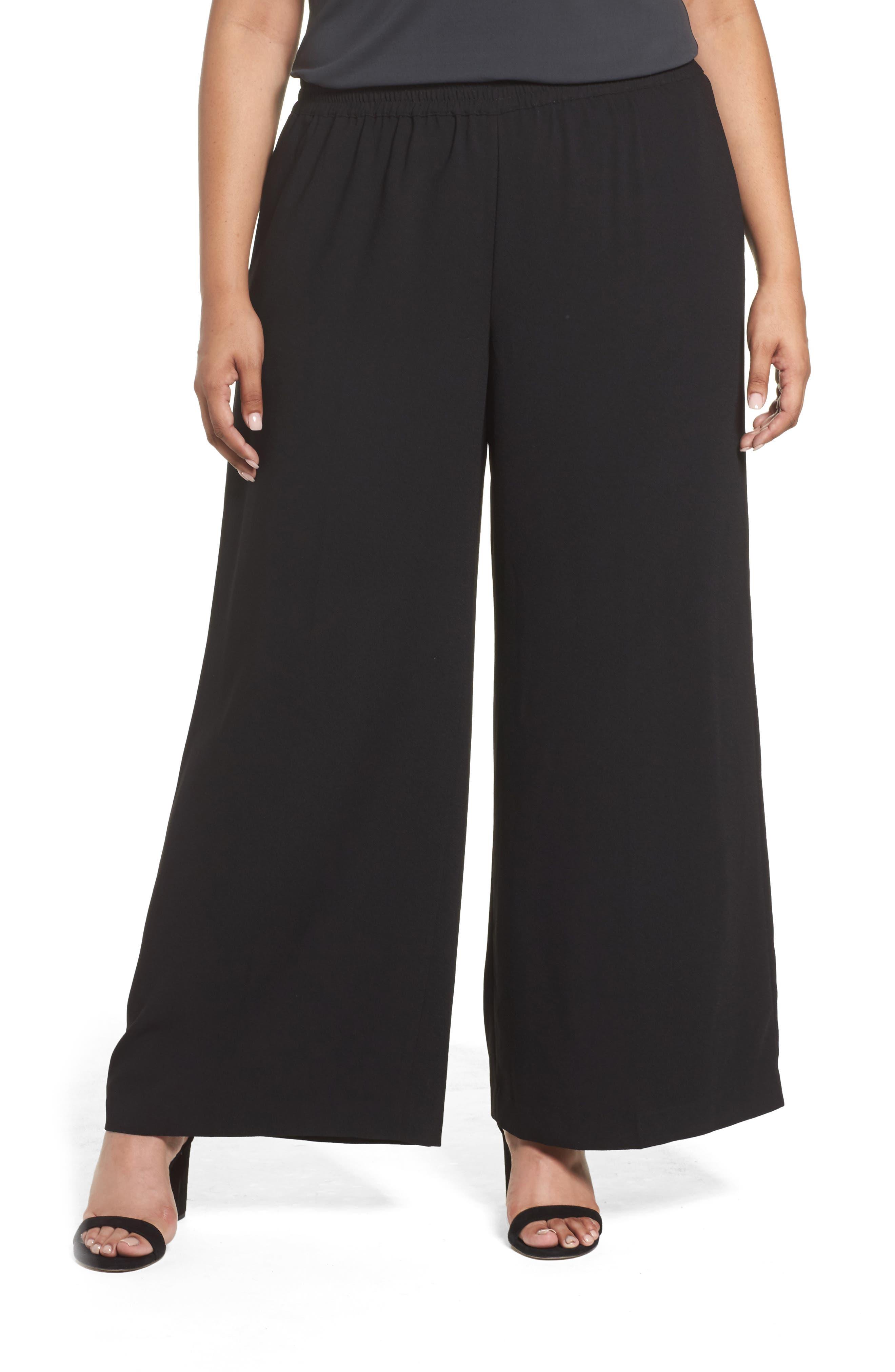 Wide Leg Crepe Pants,                         Main,                         color, Rich Black