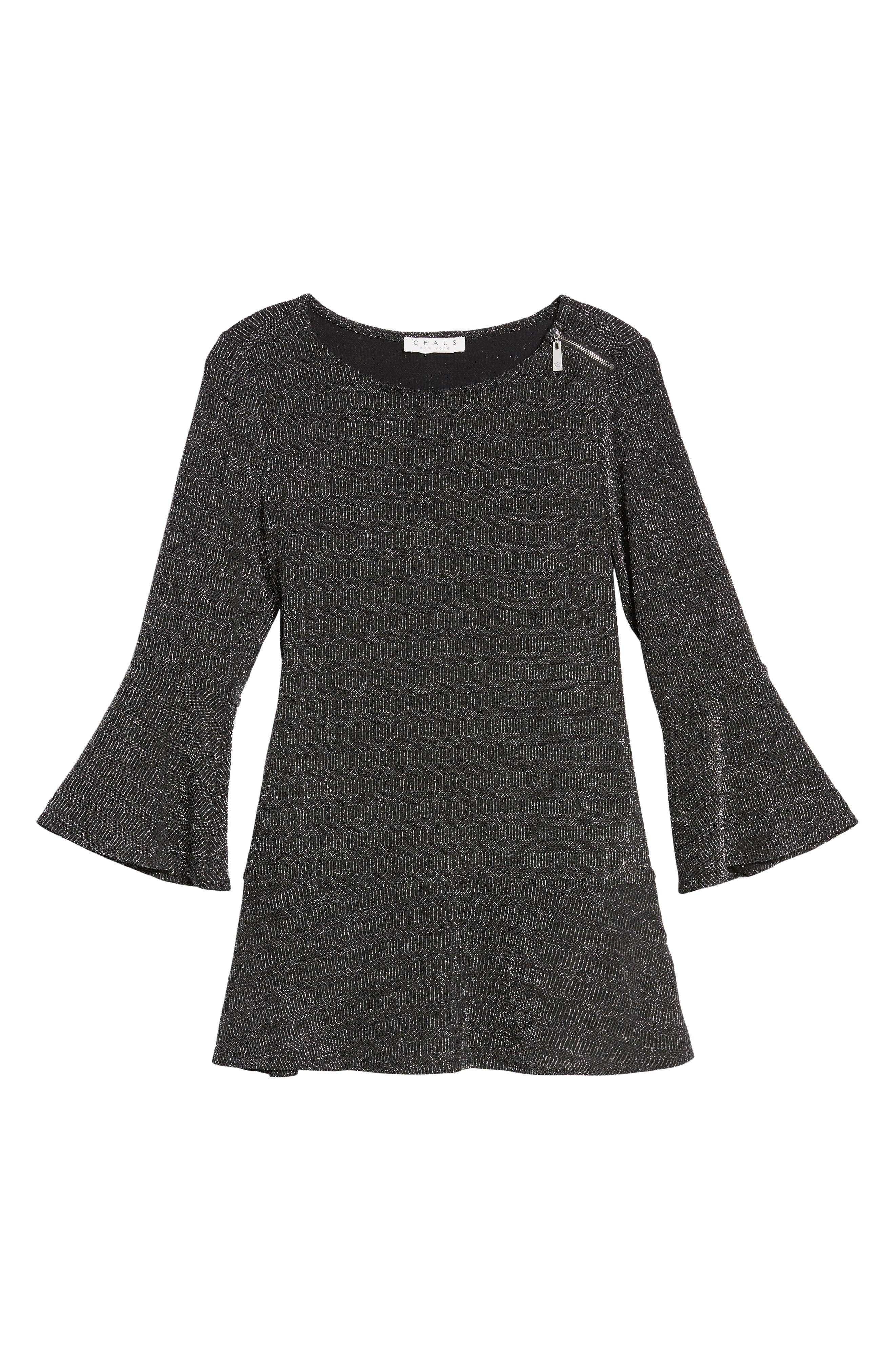 Glitter Bell Sleeve Top,                         Main,                         color, Silver Shine
