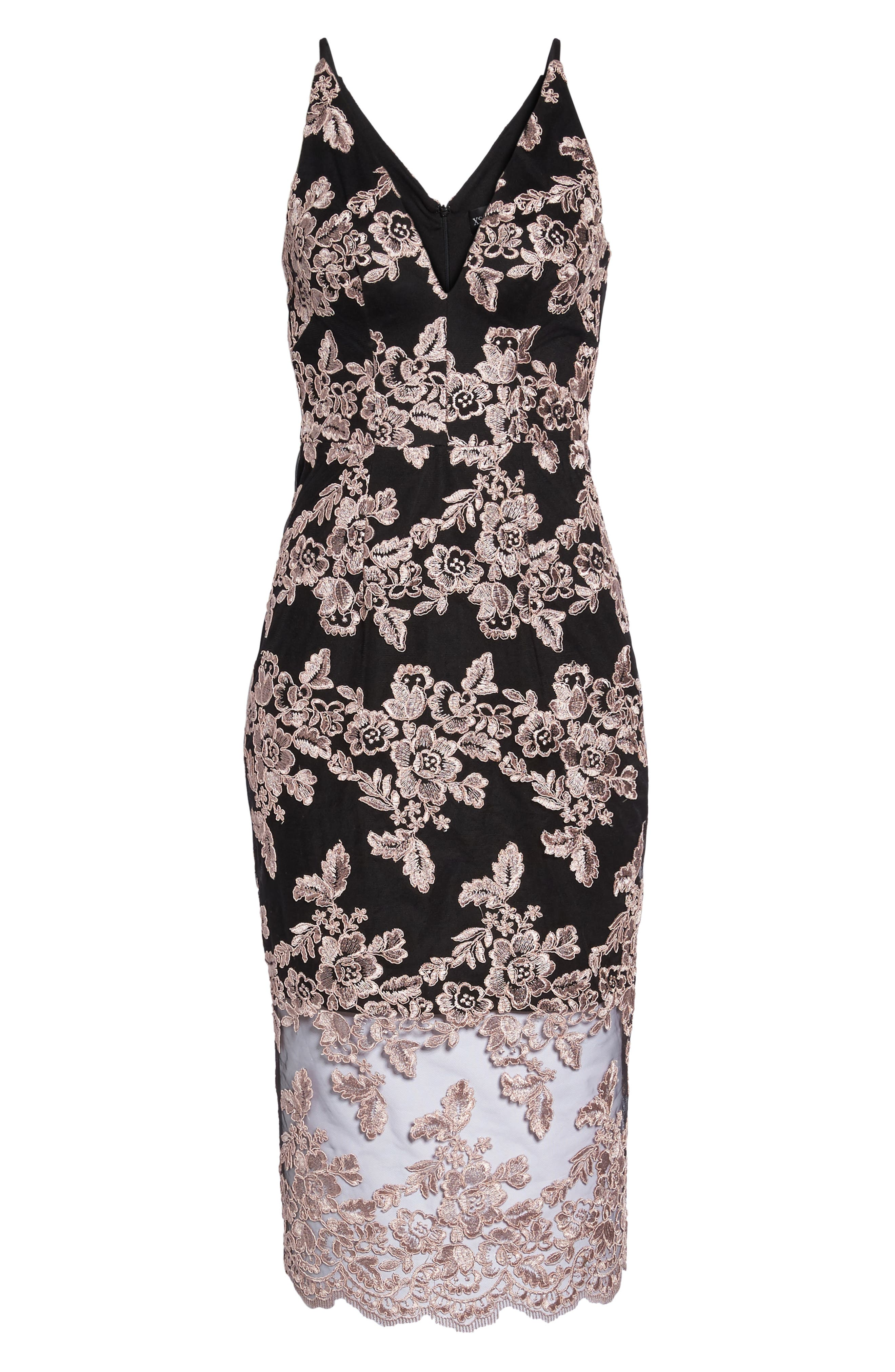 Plunge Lace Midi Dress,                             Alternate thumbnail 6, color,                             Black/ Mauve