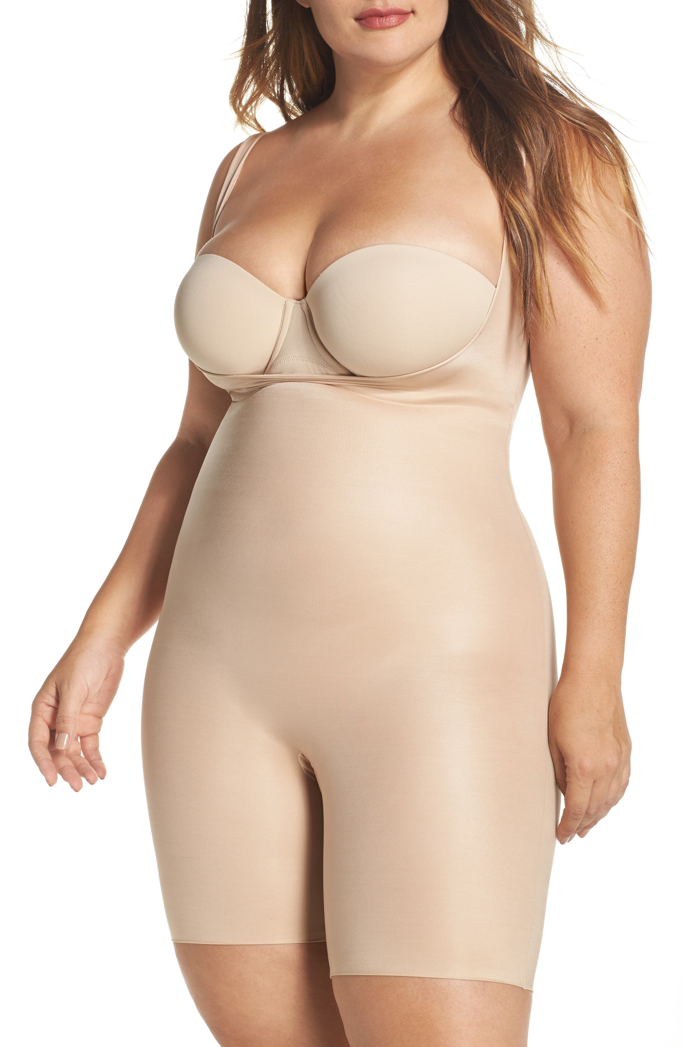 Power Conceal-Her Open Bust Bodysuit,                             Main thumbnail 1, color,                             Natural Glam