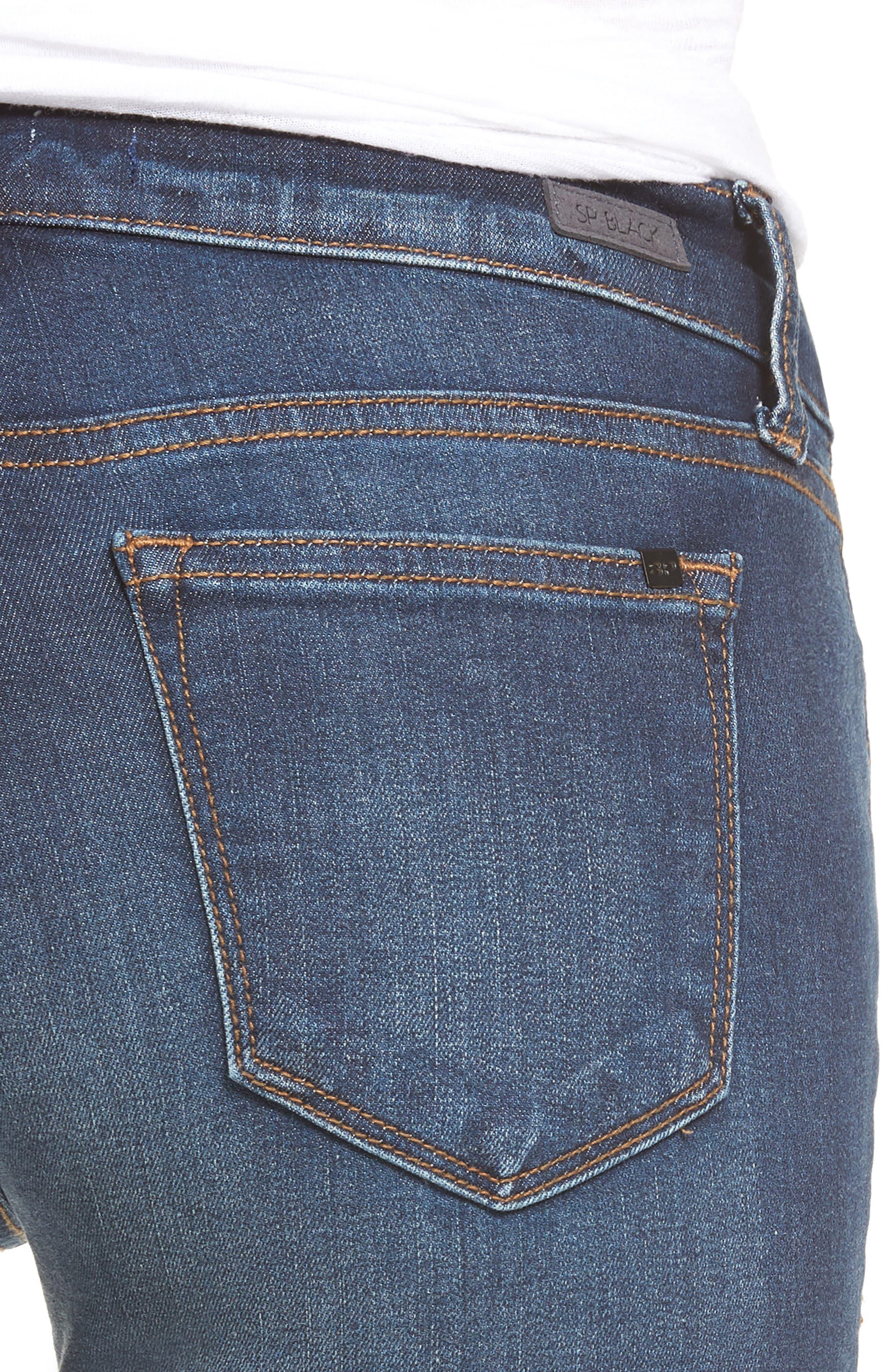 Roll Cuff Skinny Jeans,                             Alternate thumbnail 4, color,                             Dark Wash