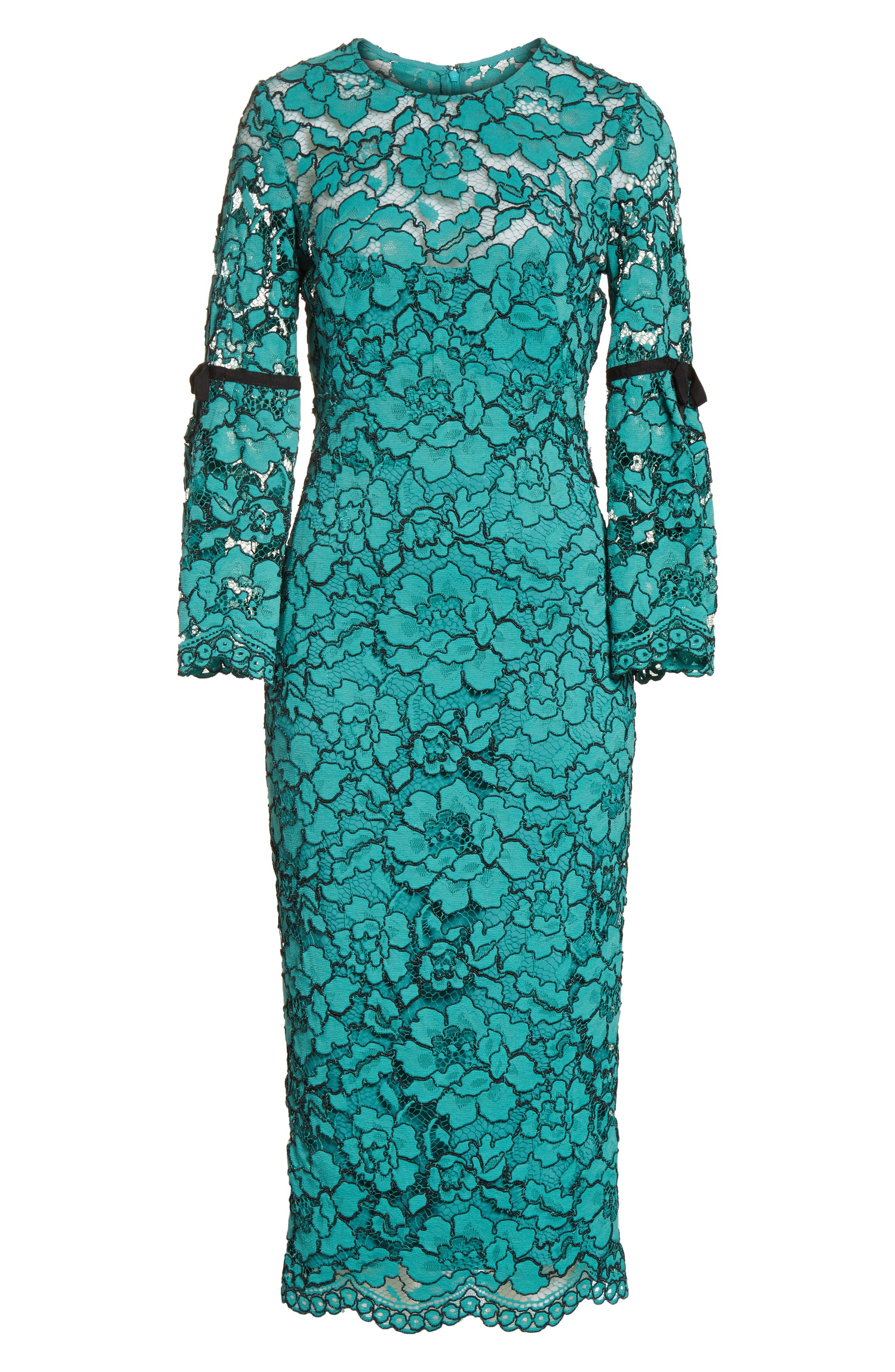 Lace Bell Sleeve Sheath Dress,                             Alternate thumbnail 8, color,                             Jade