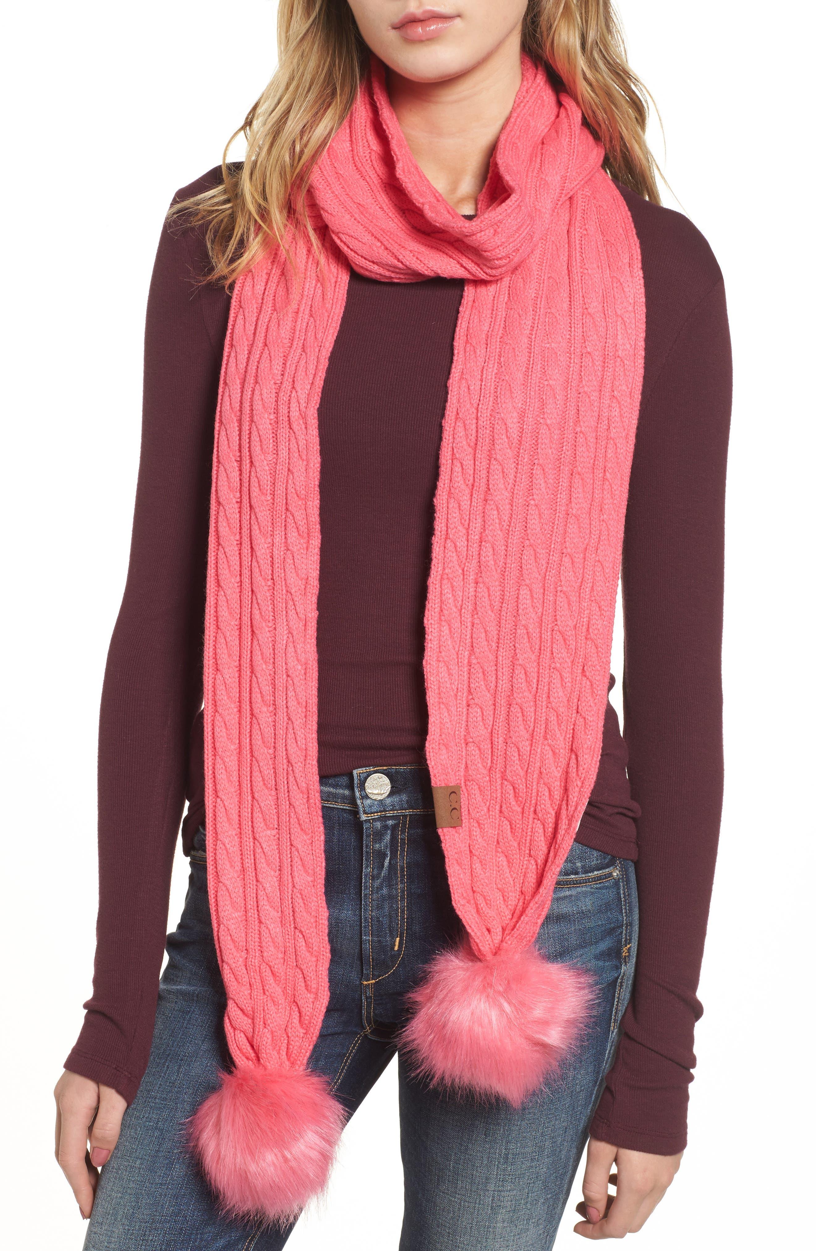 Alternate Image 1 Selected - CC Faux Fur Pompom Knit Scarf