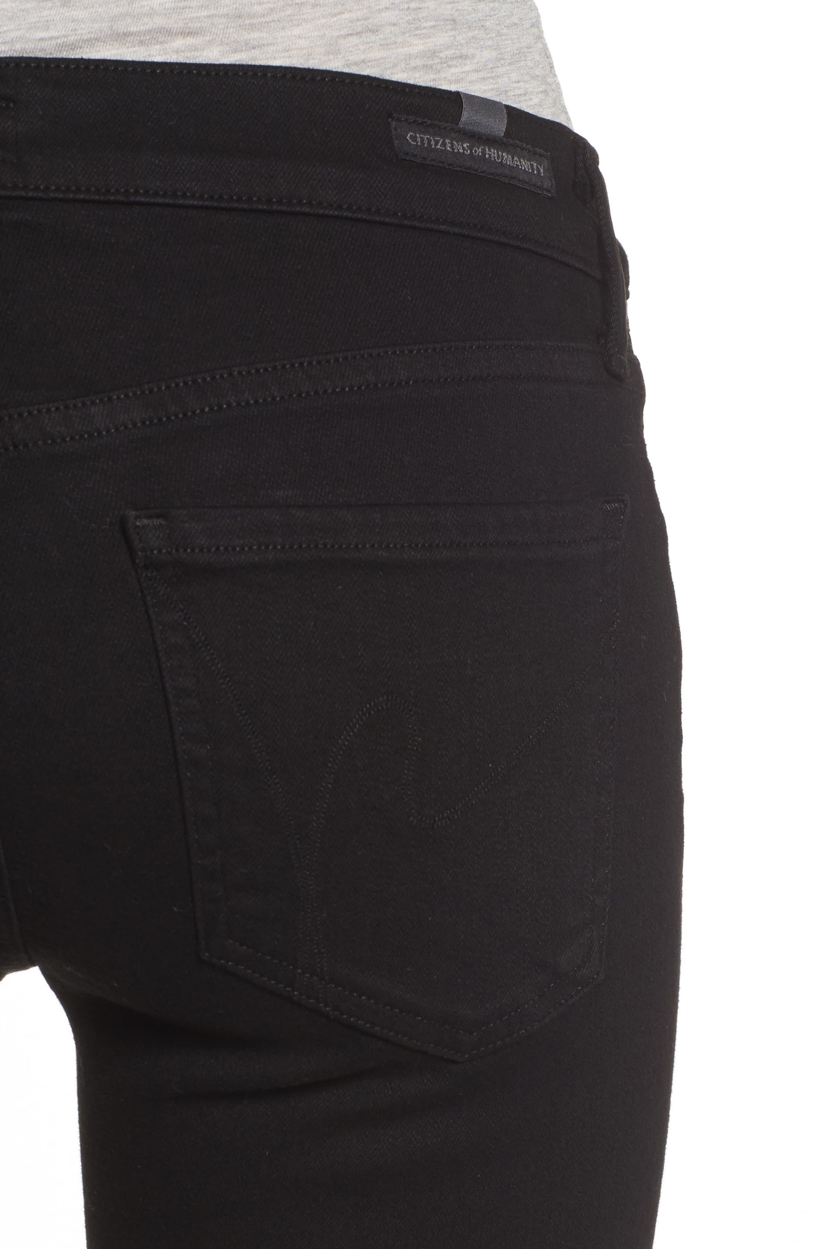 Emmanuelle Crop Slim Bootcut Jeans,                             Alternate thumbnail 4, color,                             Tuxedo