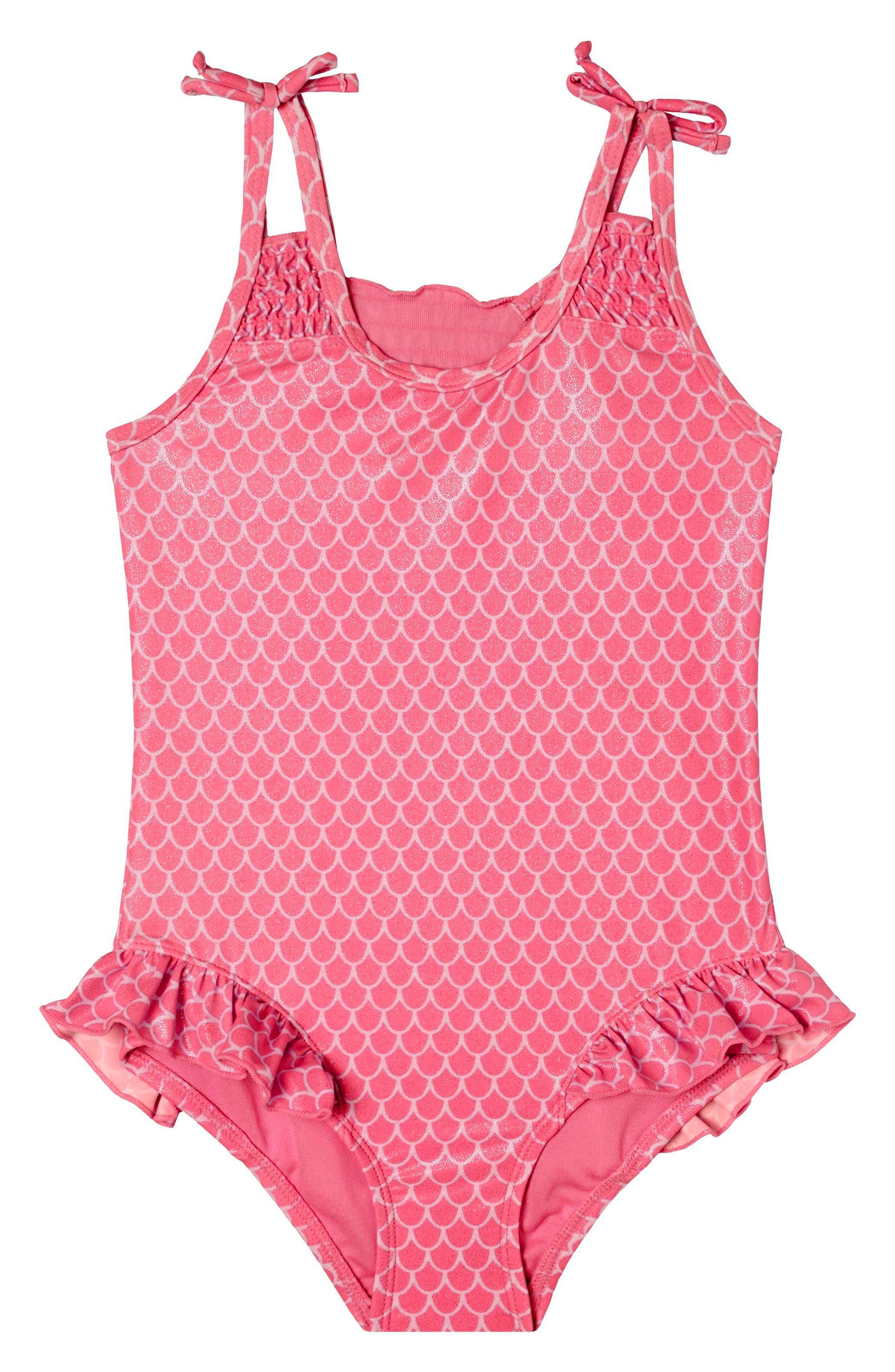 Mermaid Princess One-Piece Swimsuit,                         Main,                         color, Pink