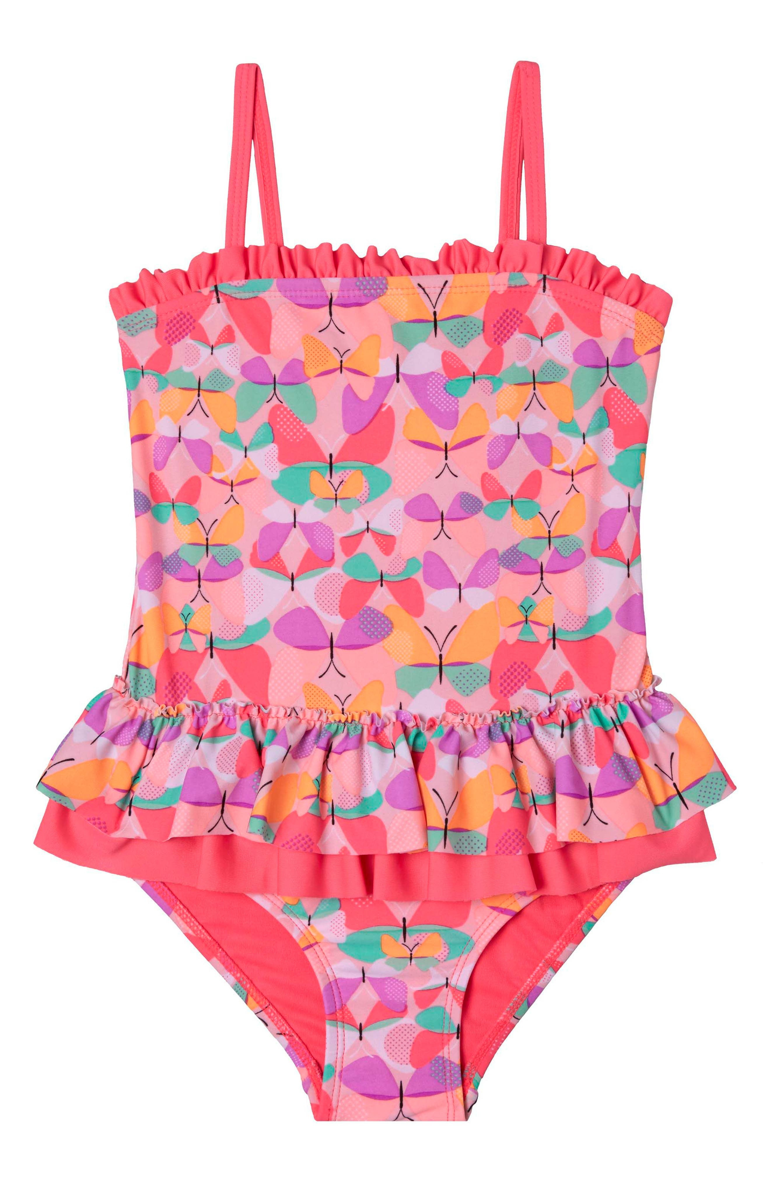 Butterfly Cutie One-Piece Swimsuit,                             Main thumbnail 1, color,                             Pink