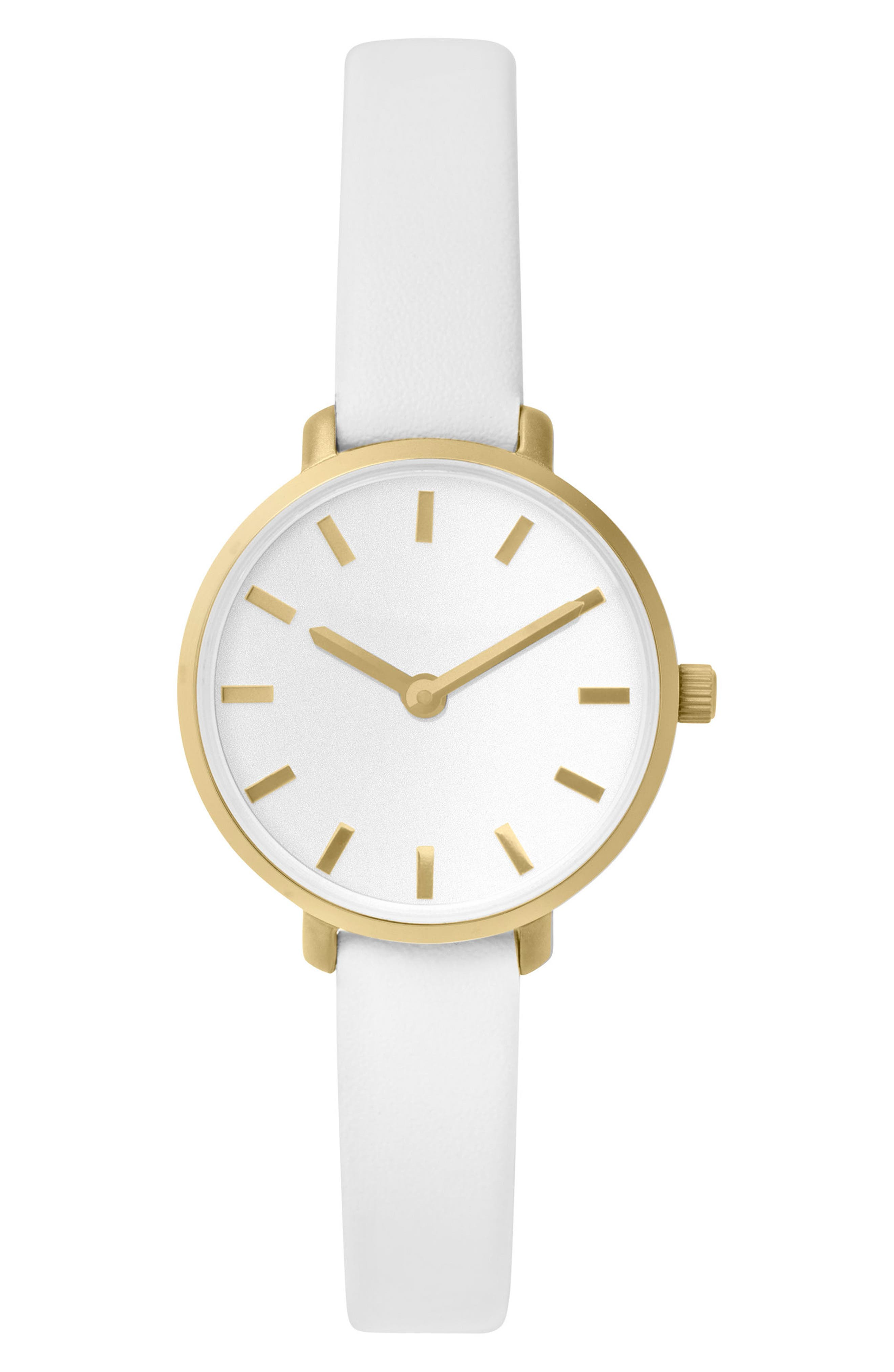 Beverly Round Leather Strap Watch, 26mm,                             Main thumbnail 1, color,                             White/ Gold