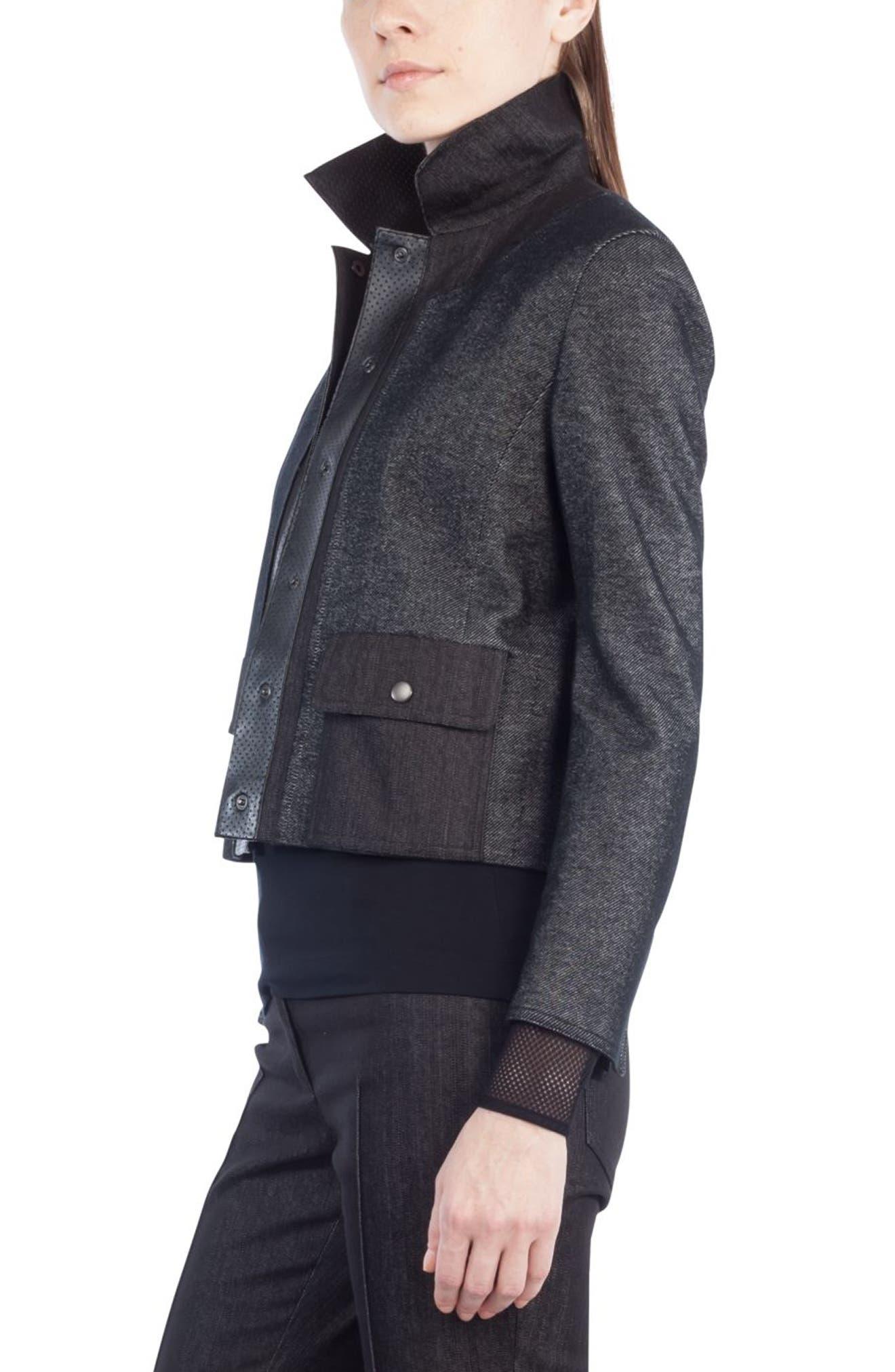 Leather Trim Crop Denim Jacket,                             Alternate thumbnail 3, color,                             Black Denim