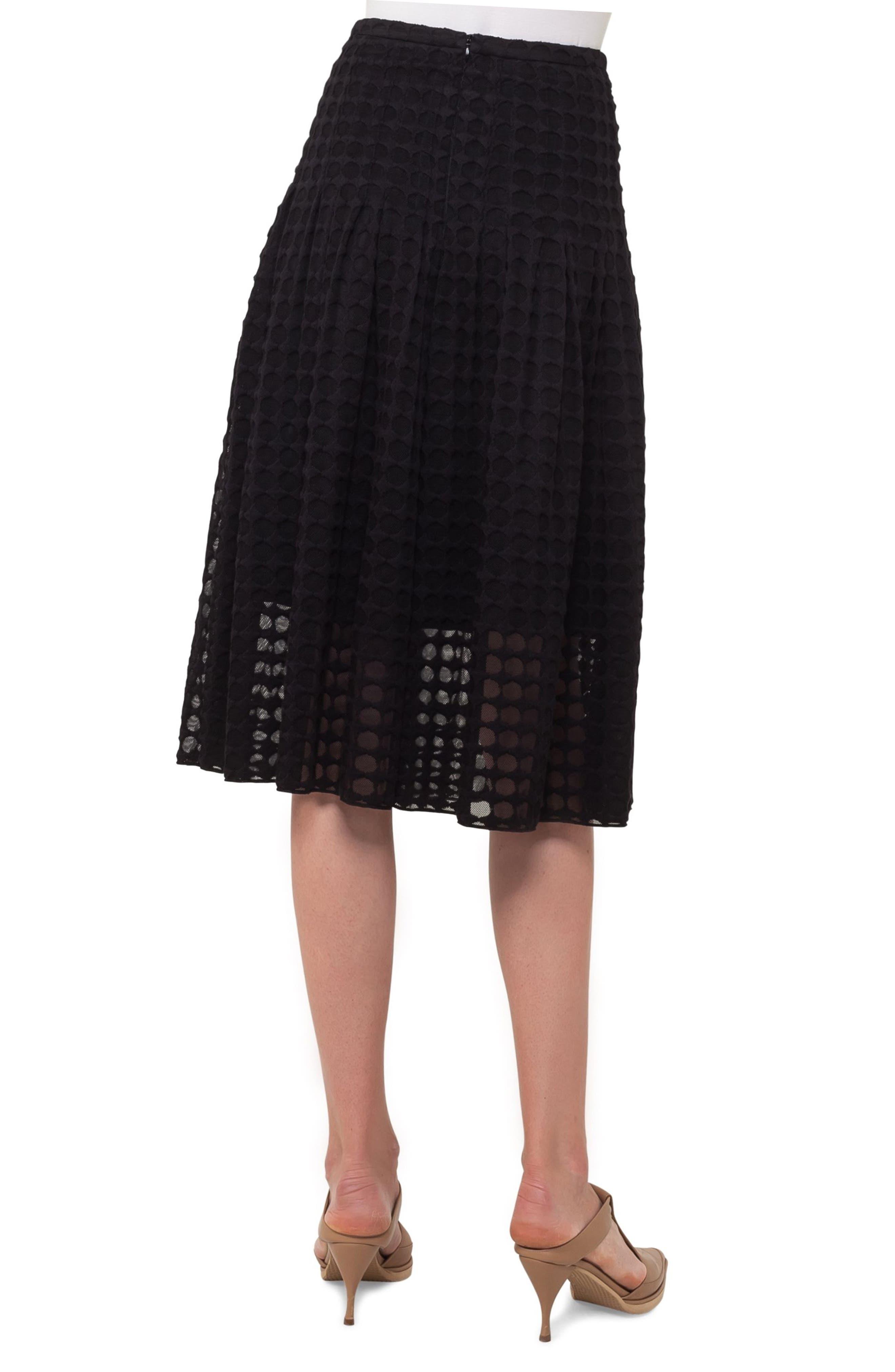 Circle Lace Midi Skirt,                             Alternate thumbnail 2, color,                             Black