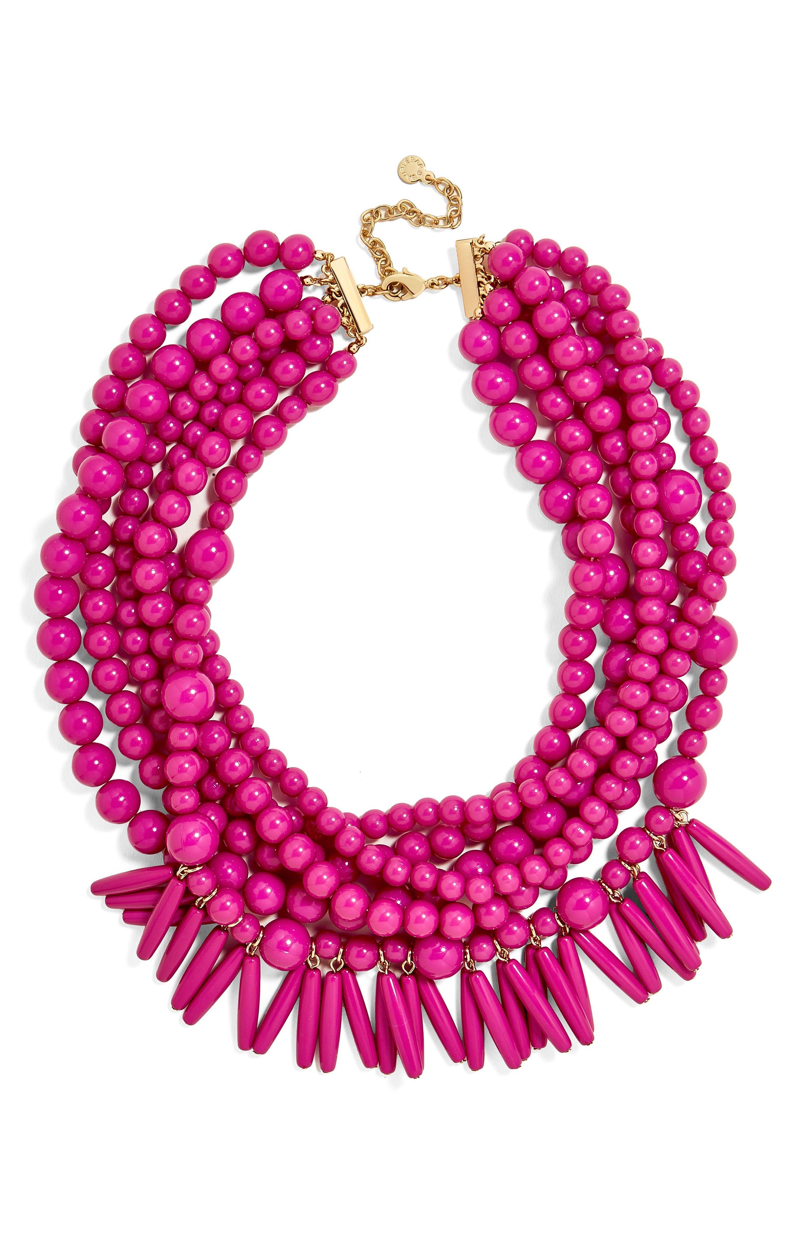 Malibu Beaded Necklace,                         Main,                         color, Fuchsia